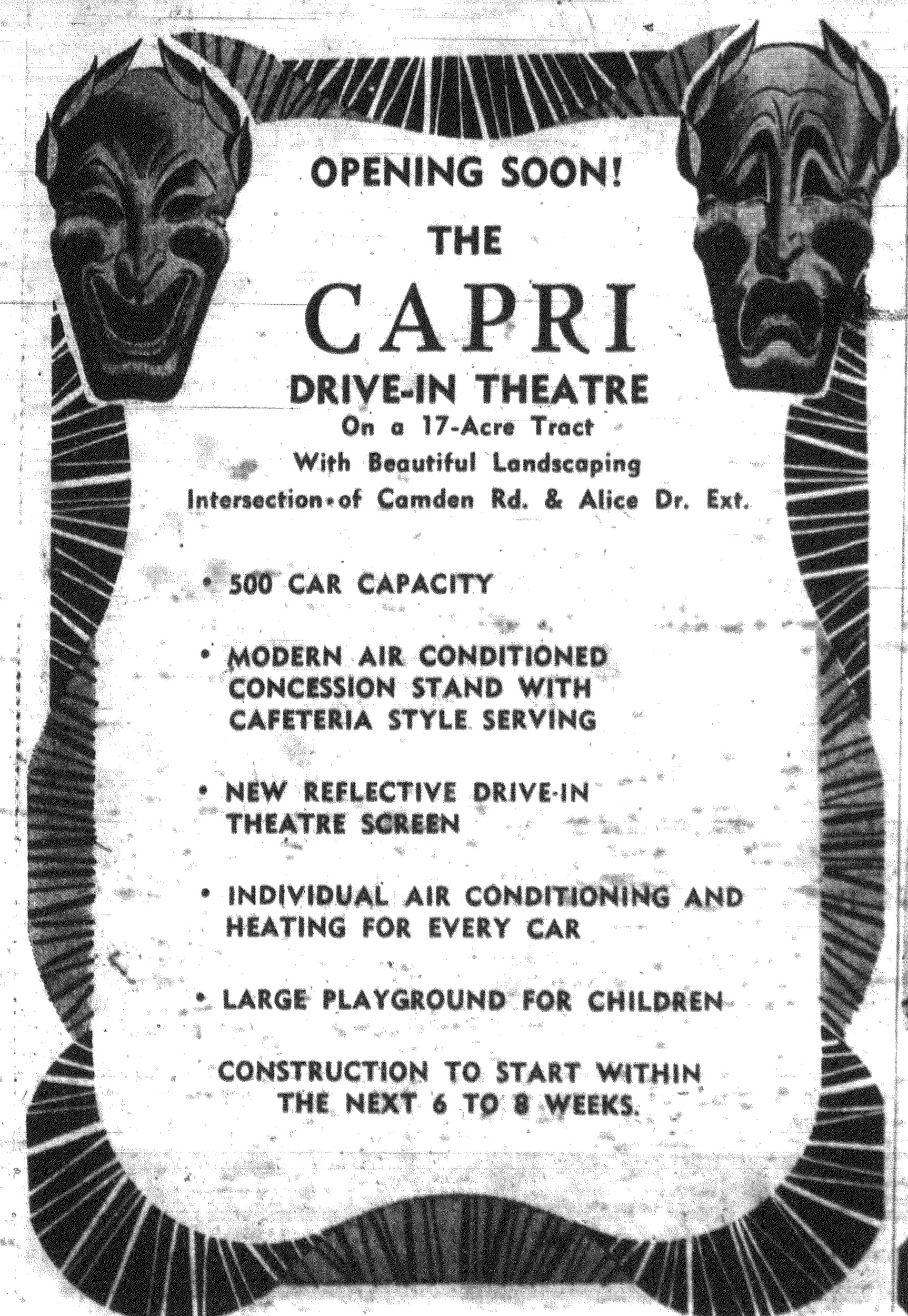 An ad announces that the Capri Drive-in would open in Sumter in 1967.