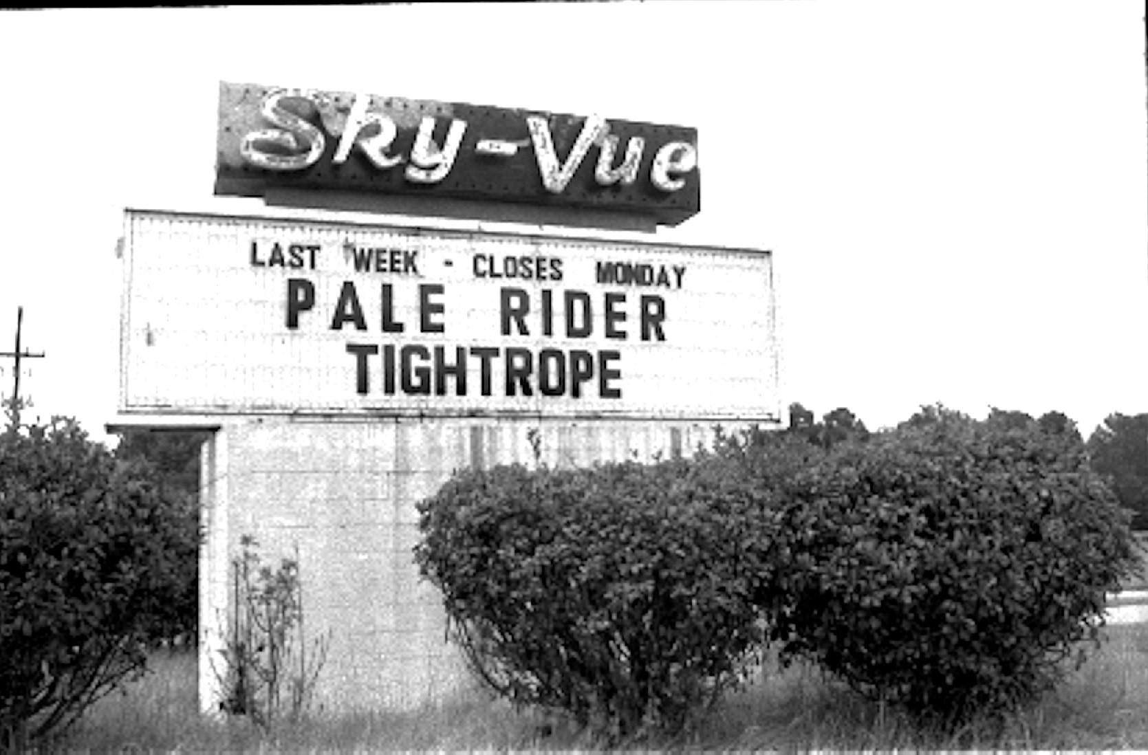 The Sky-Vue marquee advertises the last film to be shown and that the theater would close that week.