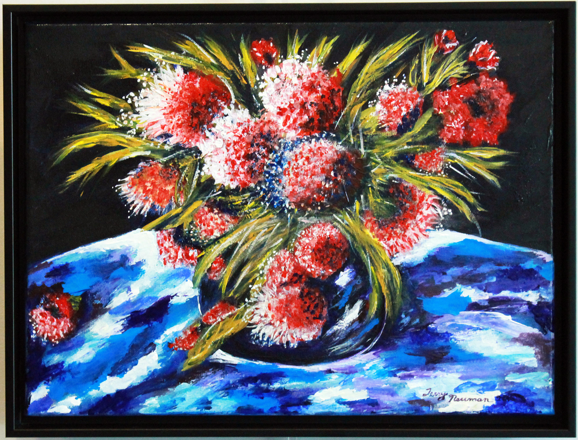 "Terry Newman's acrylic painting, Scarlet Bee Balm, shows her current focus on ""God's glorious plant life."" See her work in the Upstairs Gallery in the USC Sumter Administration Building through Oct. 31."