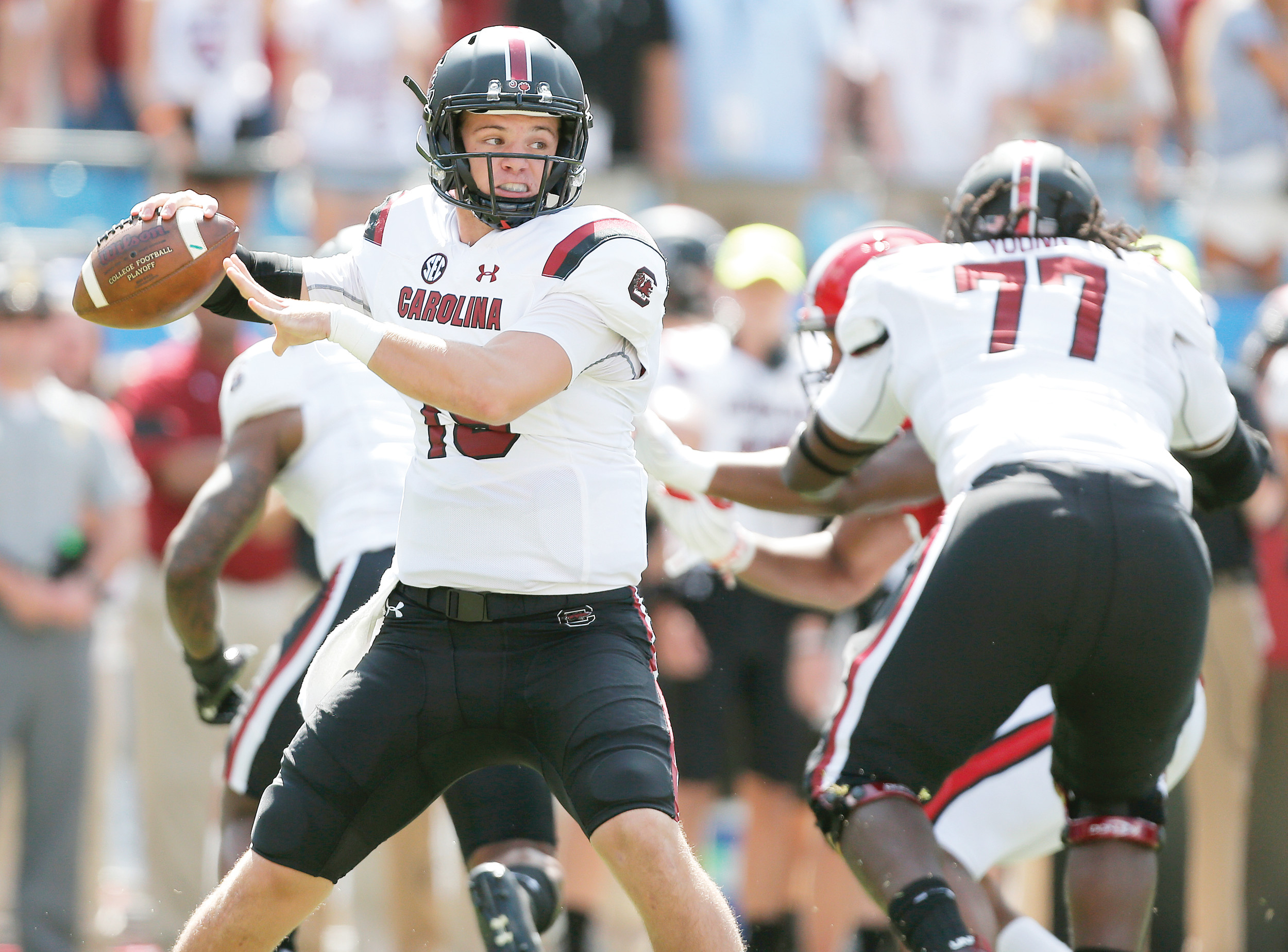 With their 35-28 victory over N.C. State last week, South Carolina quarterback Jake Bentley, left, and the rest of the Gamecocks are carrying momentum into their Southeastern Conference opener at Missouri this Saturday.