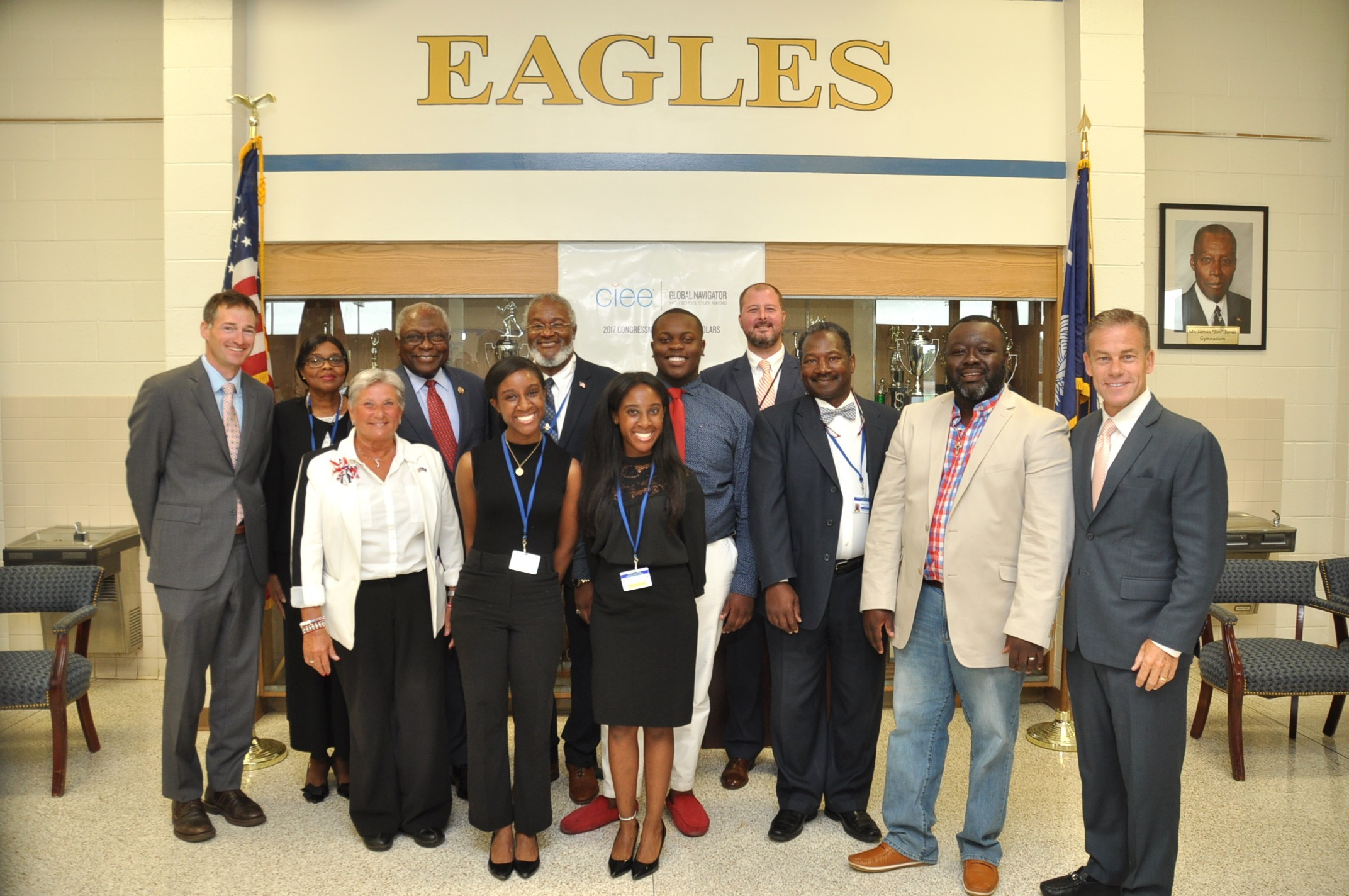 U.S. Rep. James Clyburn joined officials from Clarendon County School District 1 and the Council on International Educational Exchange in congratulating four Scott's Branch High School students who recently studied in France and the Caribbean on scholarships awarded by CIEE.