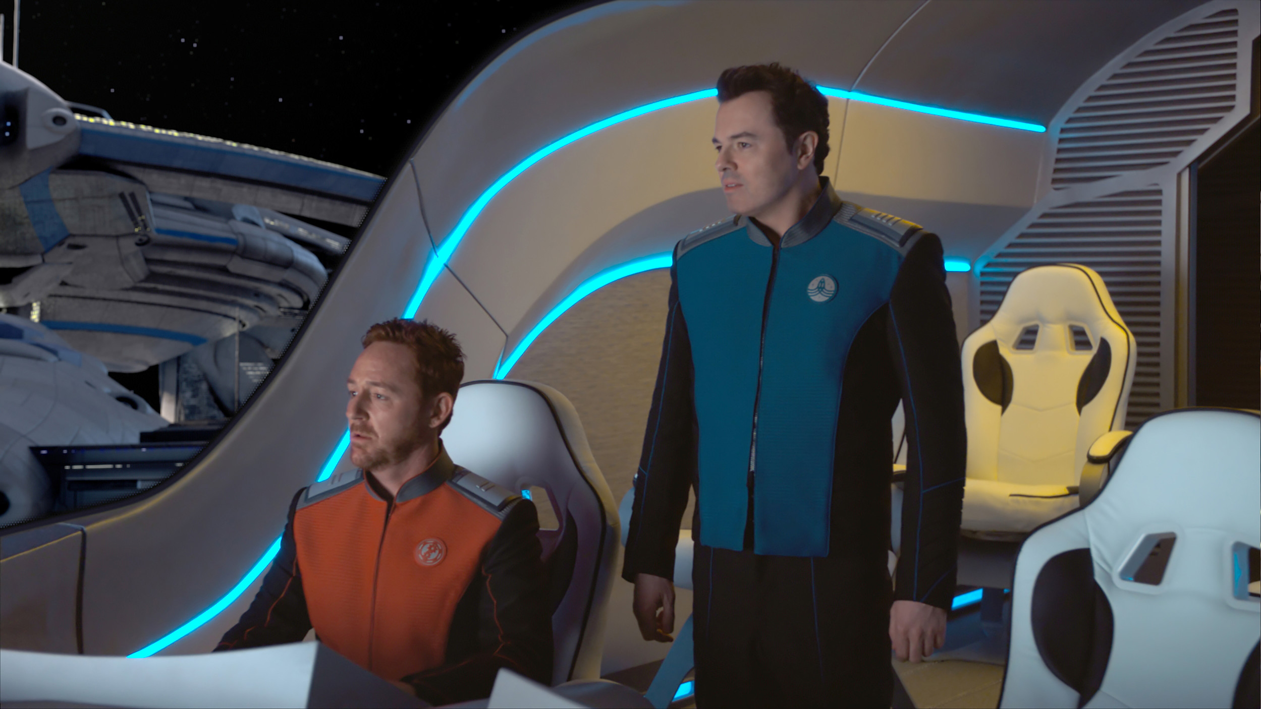 "Scott Grimes, left, and Seth MacFarlane star in the ""Old Wounds"" episode of ""The Orville,"" premiering at 8 p.m. Sunday on FOX."