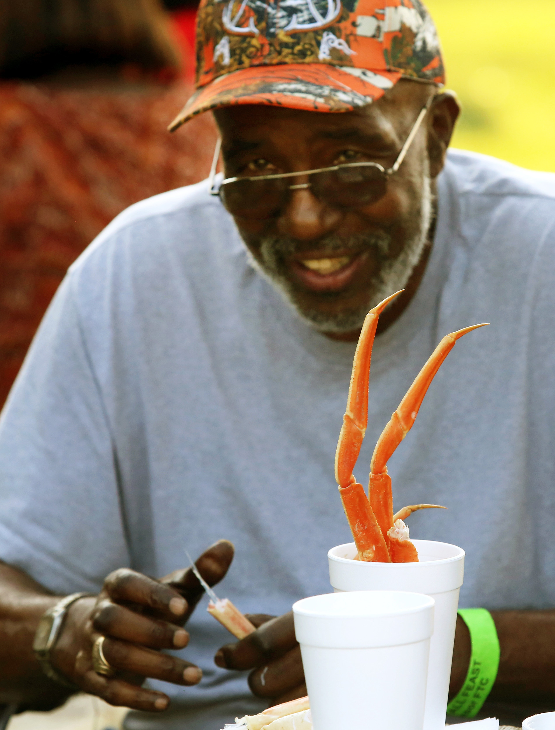 Crab legs are always popular at Fall Feast, as are dozens of other delectable dishes. Here Sam Dairyo enjoys them at a past Fall Feast. The event scheduled for Sept. 21 benefits Sumter Green, a nonprofit organization that maintains green entrances to the city, among its other endeavors.