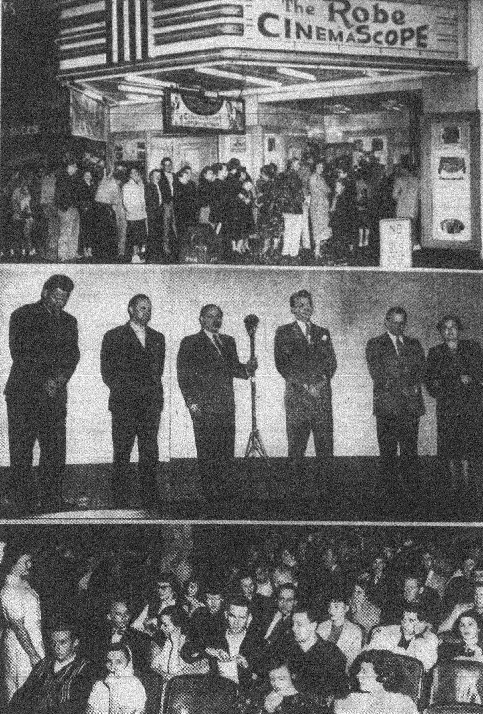 "The near-capacity crowd files into the Carolina Theatre for the premiere showing of ""The Robe,"" first movie to be filmed in Cinemascope. Speakers during brief ceremonies are shown, center photo, from left: Col. Richard Knobloch, deputy commander Shaw Air Force Base; G. Werber Bryan, president, Junior Chamber of Commerce; J. Lawrence Goldsmith, co-owner and manager of the Carolina; Councilman Clifton Brown, master of ceremonies; J.E. Eldridge, president, Sumter Merchants Association; and Mayor M. Priscilla Shaw. At bottom is a view of the audience from the front of the theater."