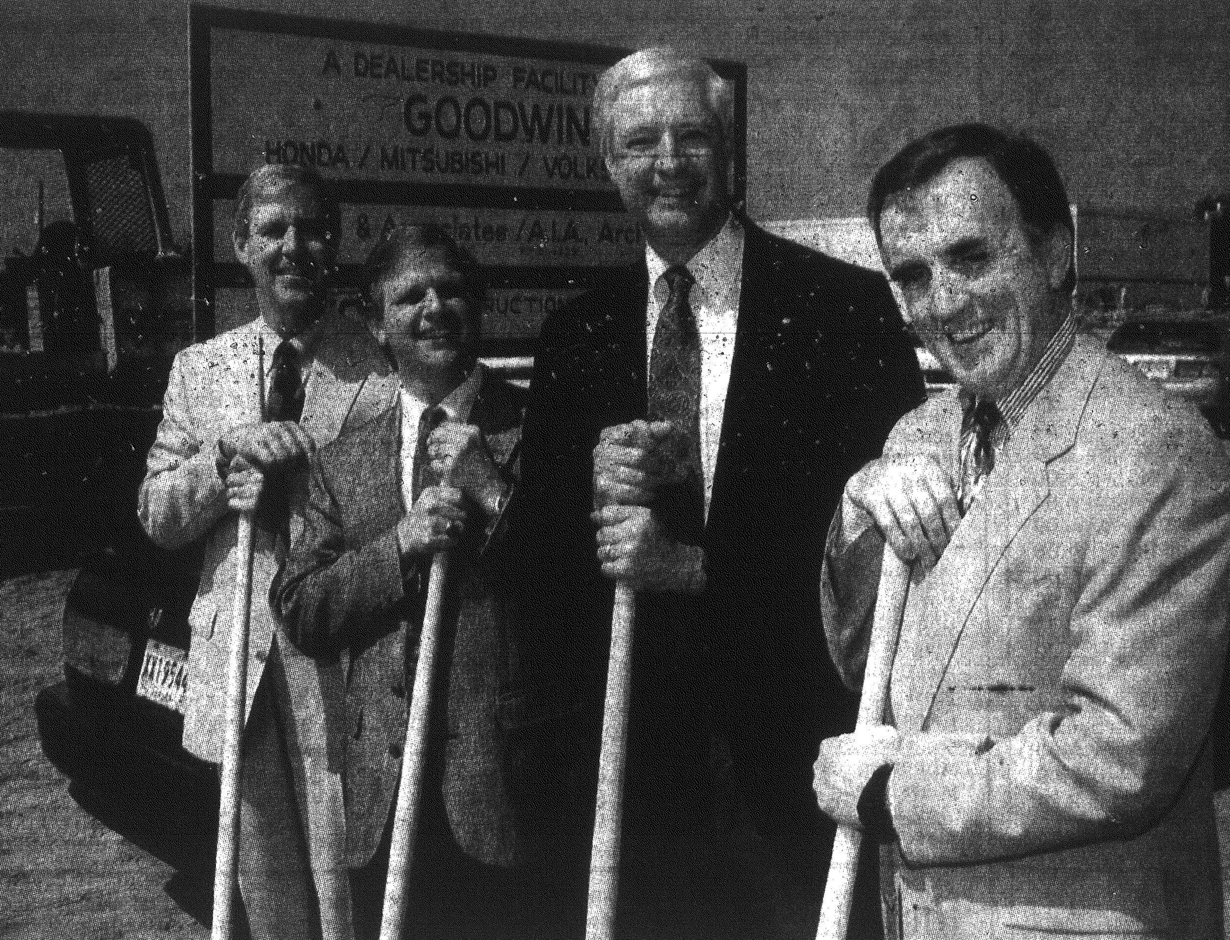 1992 - From left, Sumter Mayor Steve Creech, Keith Hamm, Cliff Goodwin and Sumter County Council Chairman Joe Davis break ground on the location of the new Goodwin dealership on U.S. 76/378.