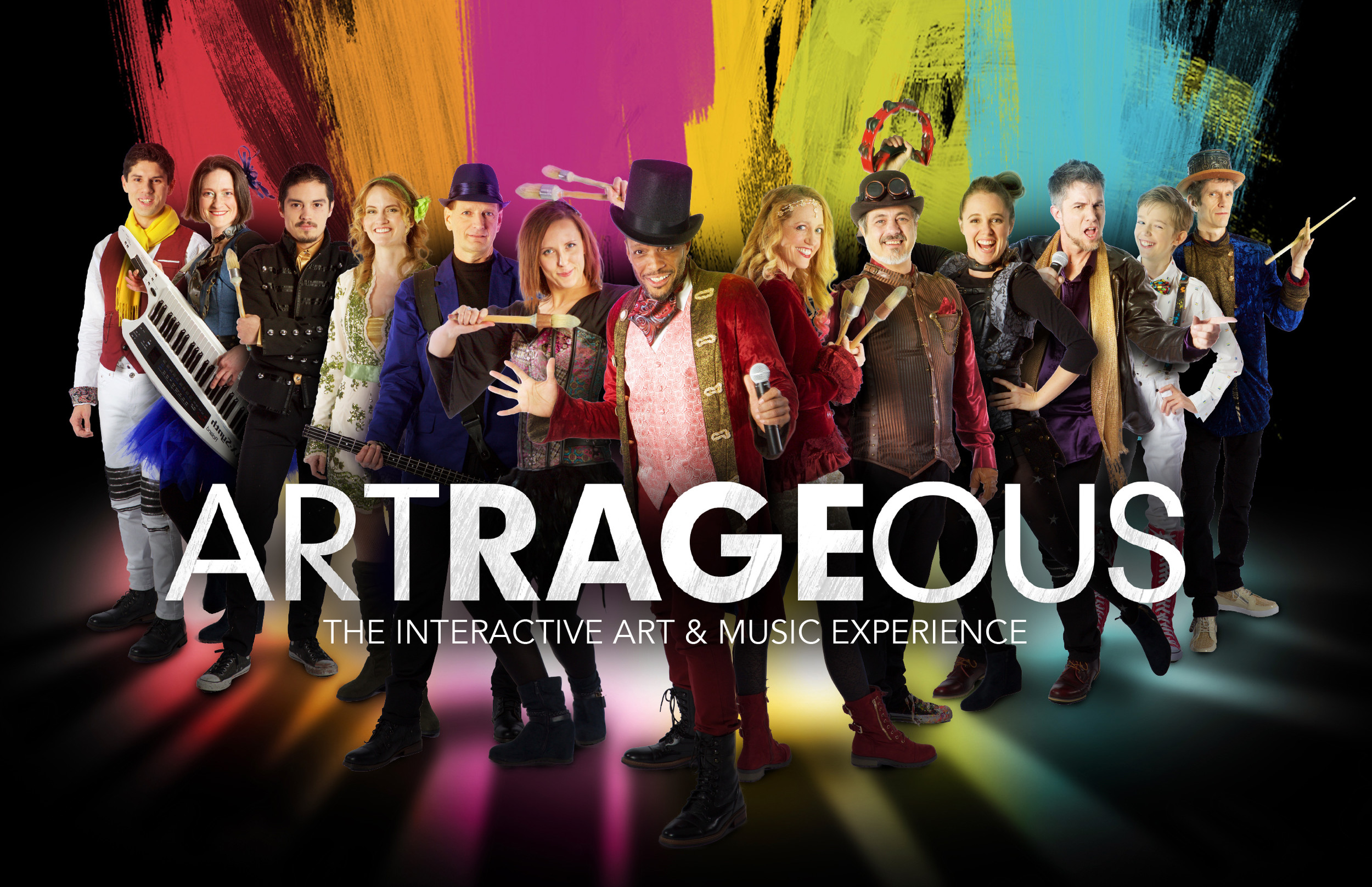 "ARTRAGEOUS presents an interactive ""experience,"" with lots of energy, color and music. The program provides kids an exciting example of what it takes to be a real performing artist."