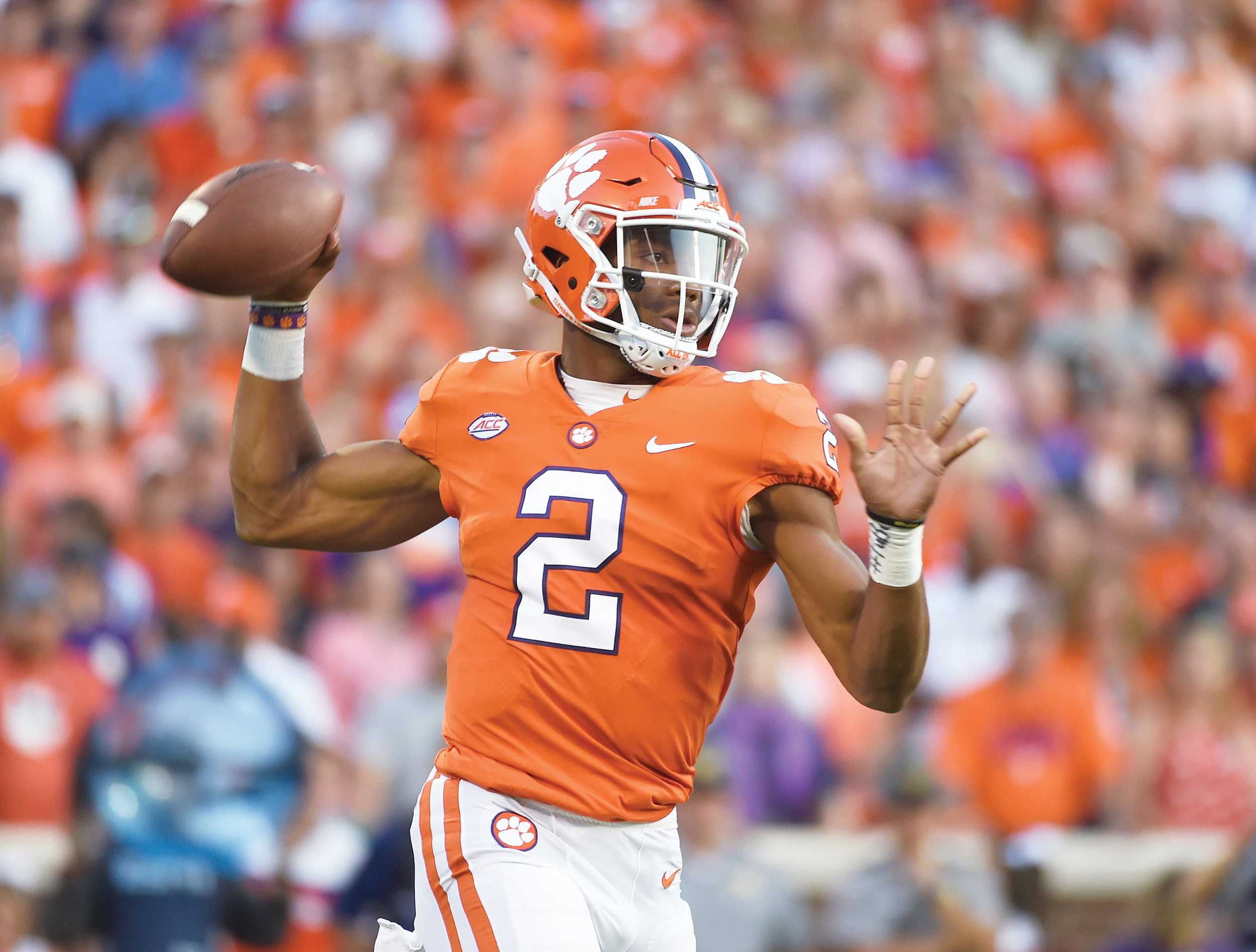 Clemson quarterback Kelly Bryant (2) looks to throw during Clemson's 14-6 victory over Auburn on Saturday at Memorial Stadium in Clemson.