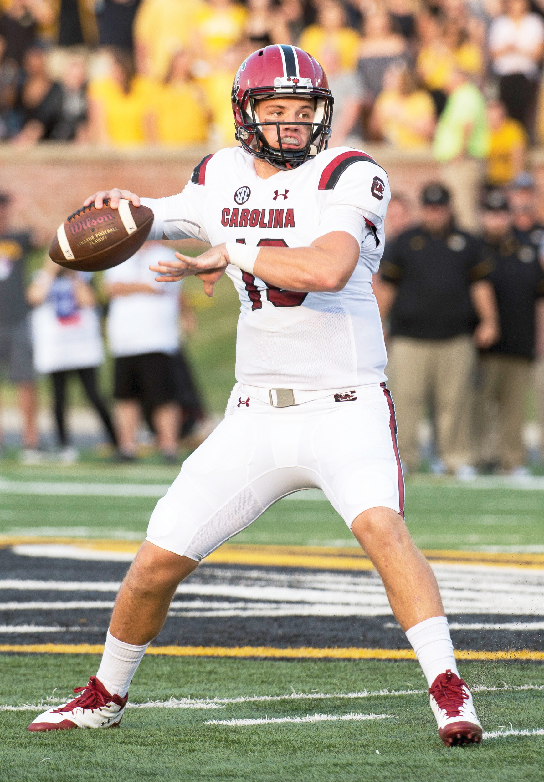 South Carolina quarterback Jake Bentley gets set to throw during the Gamecocks' 31-13 victory on Saturday in Columbia, Missouri.