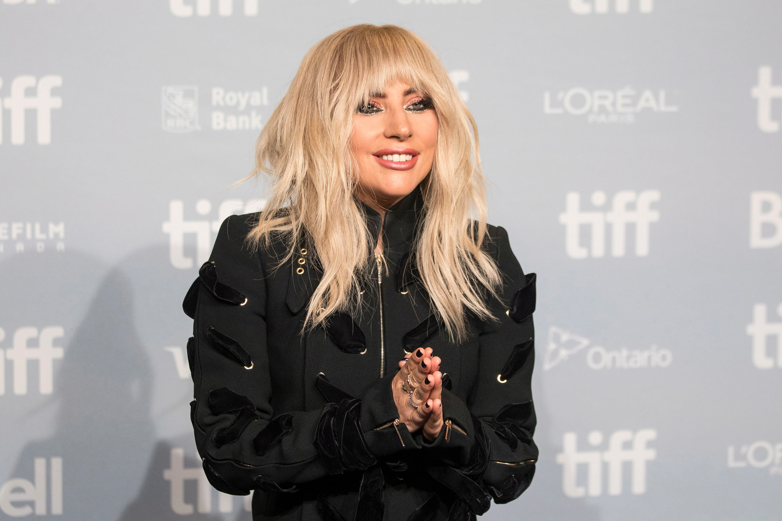 "Lady Gaga appears during a camera call before the press conference for ""Gaga: Five Foot Two"" at the Toronto International Film Festival."