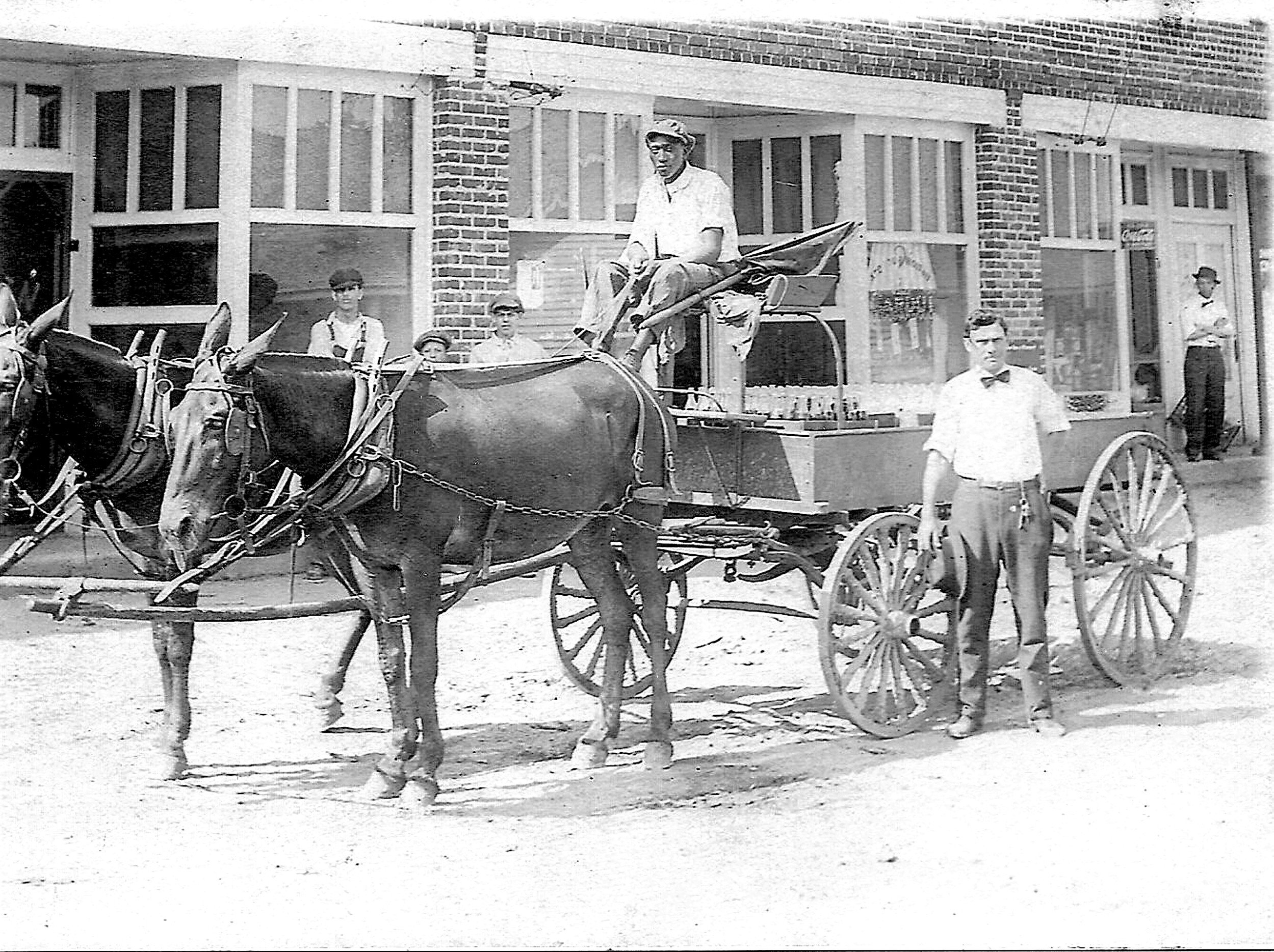 "Sumter's first Coca-Cola delivery ""truck,"" pulled by mules, is seen."