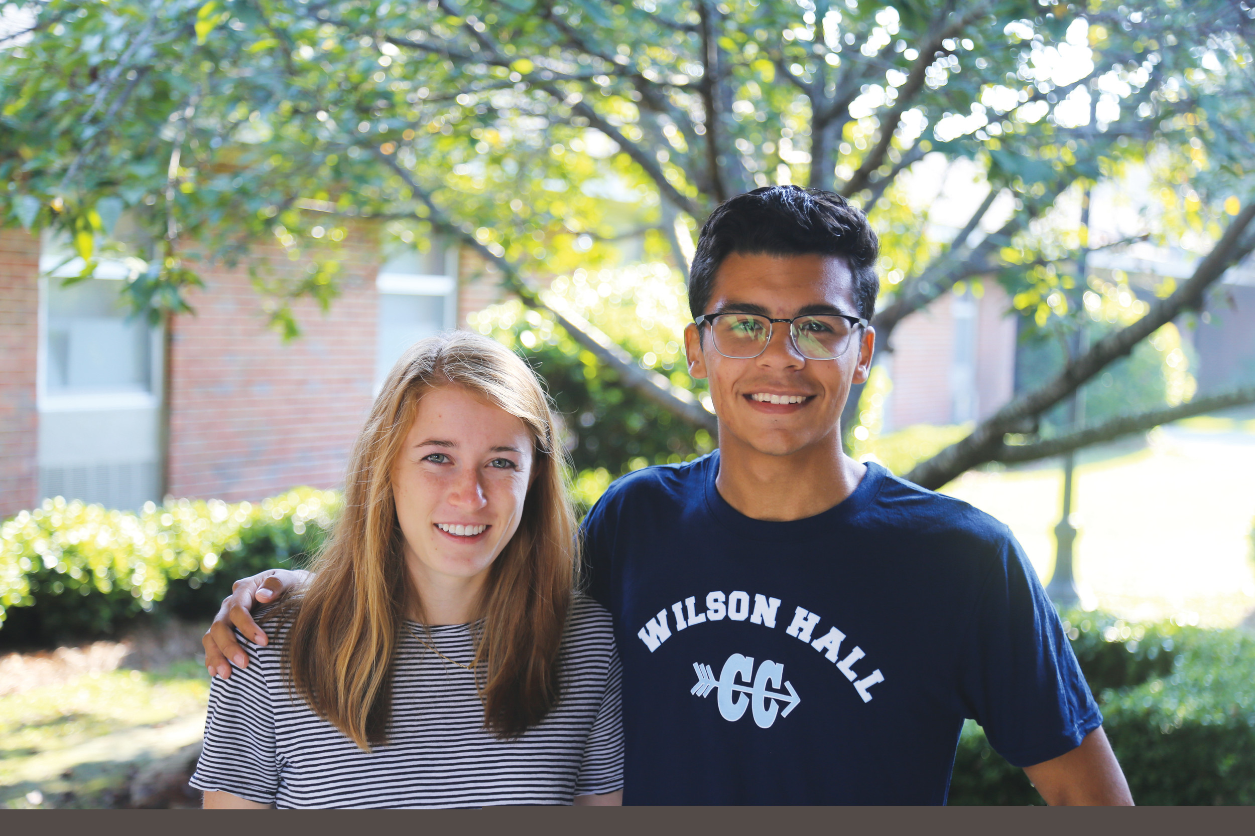 Wilson Hall seniors Kirsten Fisher, left, and Matthew Tavarez were recently selected as National Merit Scholarship semifinalists.