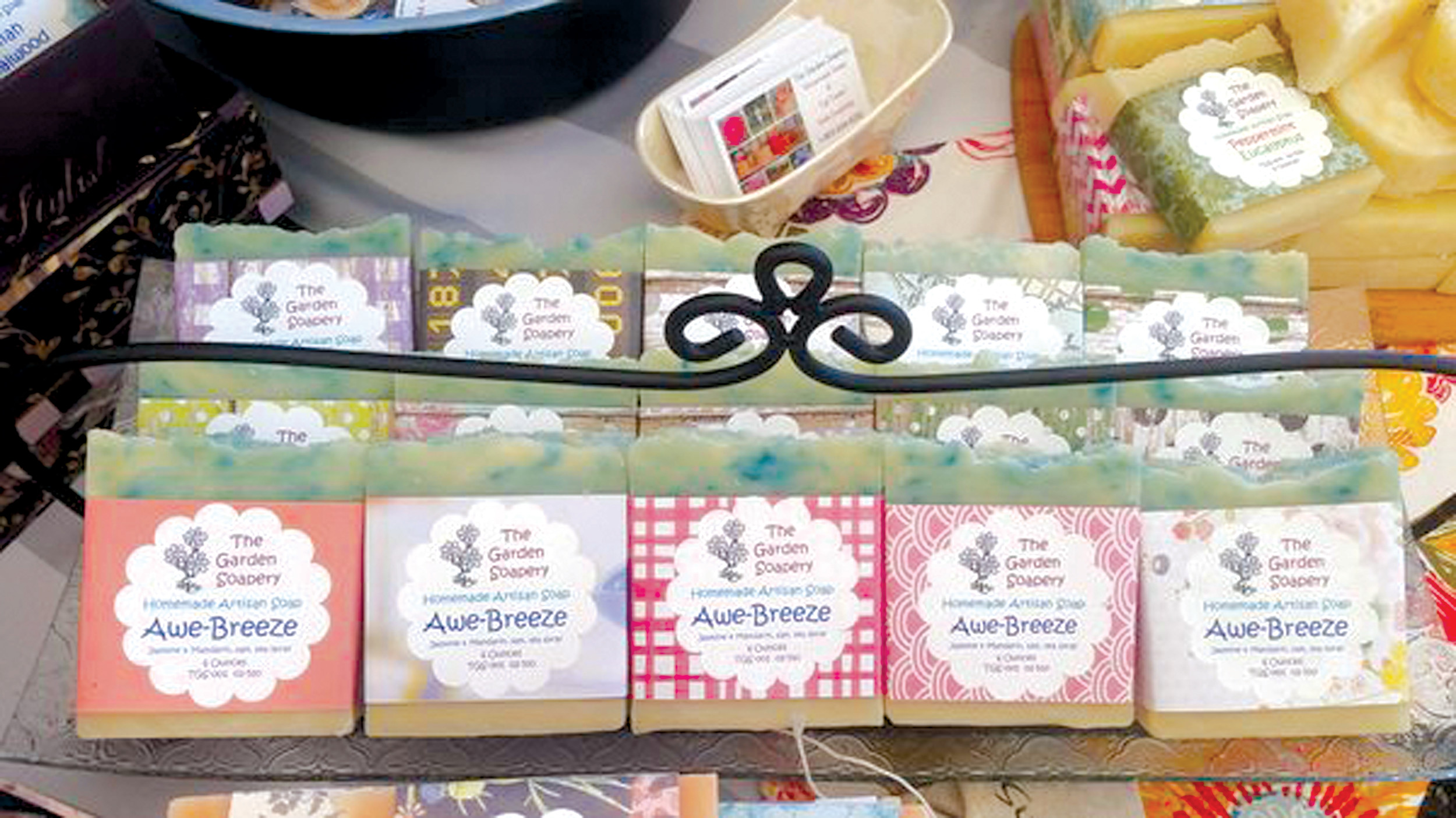 Vi Crutchley and Art Pierson travel regularly to festivals and craft shows in S.C. and N.C. with a variety of soaps, lotions, lip balms and many other items.