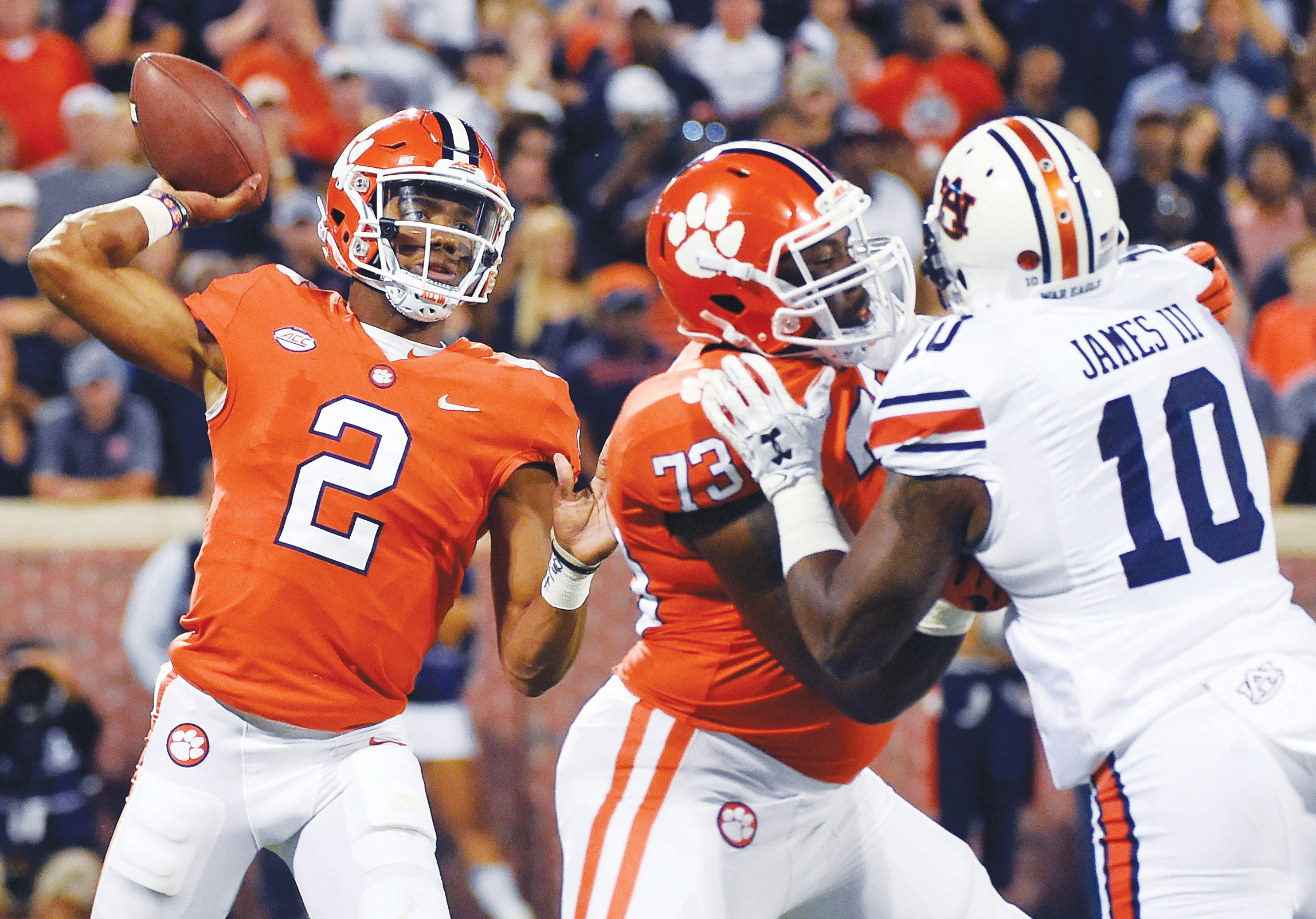 Clemson quarterback Kelly Bryant (2) throws a pass against Auburn during the first half of the Tigers' 14-6 win over the SEC opponent in Clemson.