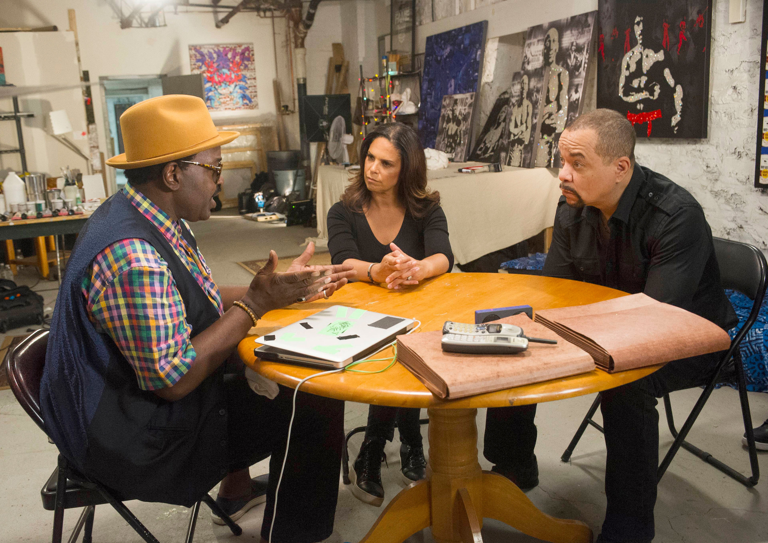 "Rapper Fab 5 Freddy, left, meets with journalist Soledad O'Brien, center, and actor and rap music icon Ice-T, right, on the two-hour investigative crime special ""Who Shot Biggie & Tupac?"" airing at 8 p.m. Sunday on FOX."