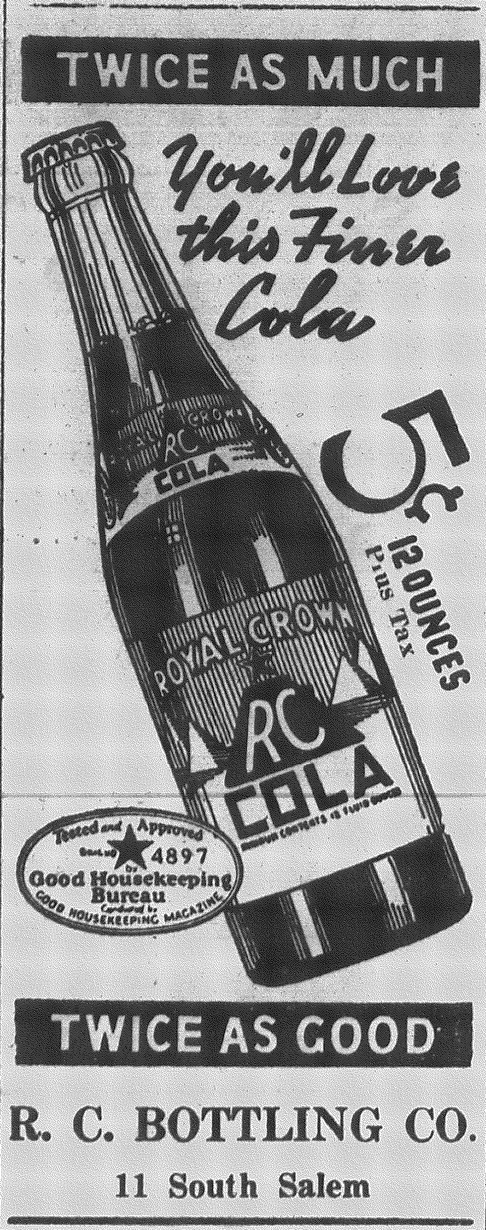 "This advertisement for RC Bottling Co. claims ""you'll love this finer cola.'"