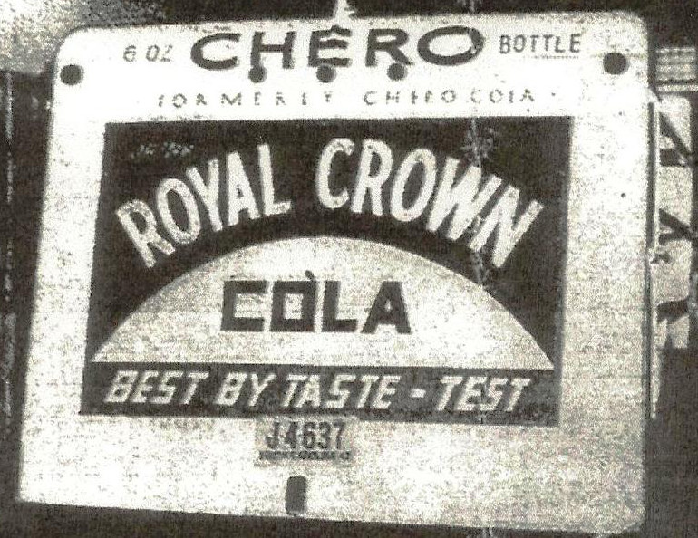 A vintage Royal Crown Cola ad is shown.