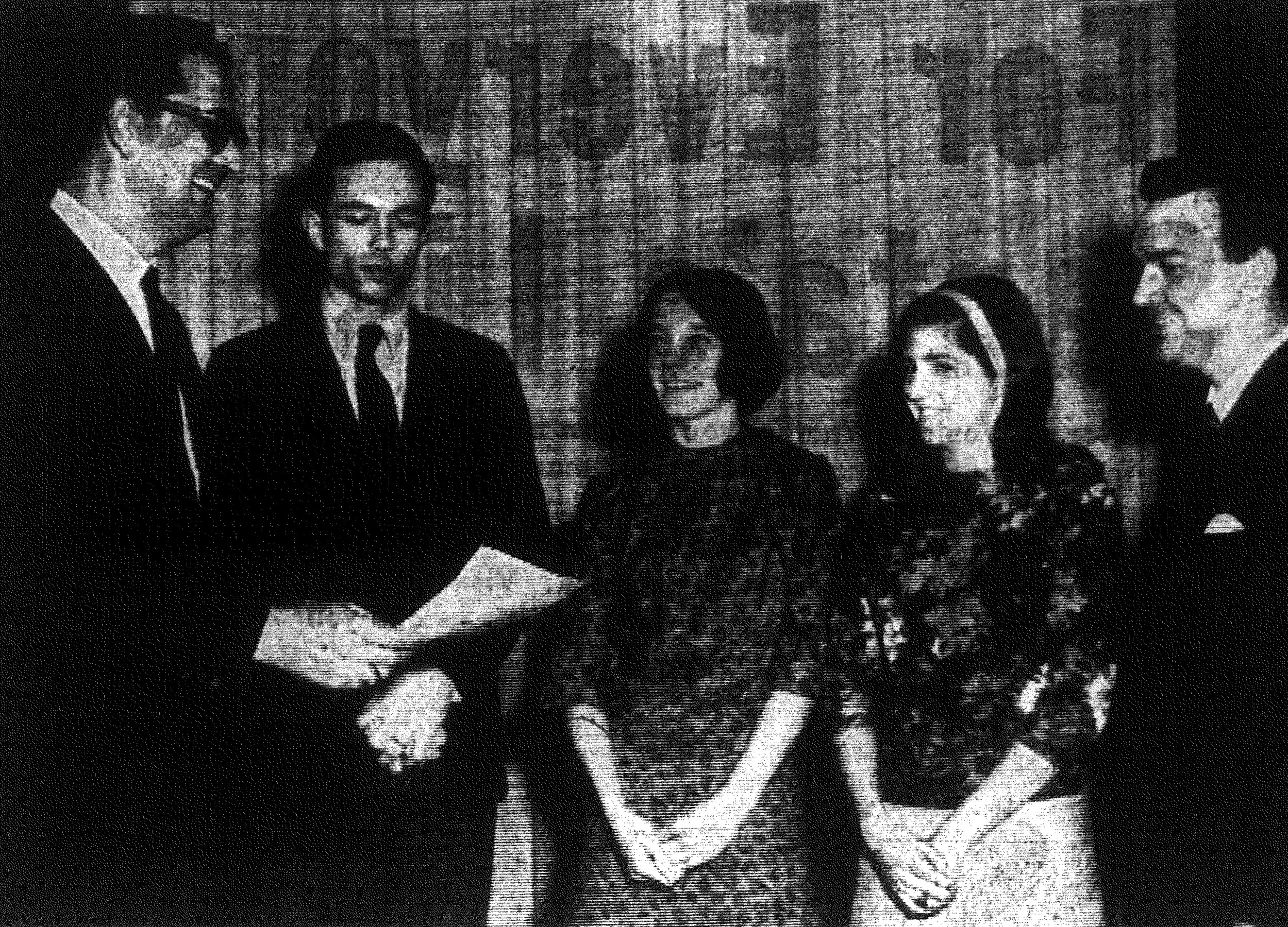 1967 - Dr. Samuel M. Willis, left, director of Clemson University at Sumter, congratulates all-A students Robert Skinner, Linda Rominger and Sharron Jansen, from left. Also shown is Professor Jack Anderson, chairman of the honors awards committee at the school.
