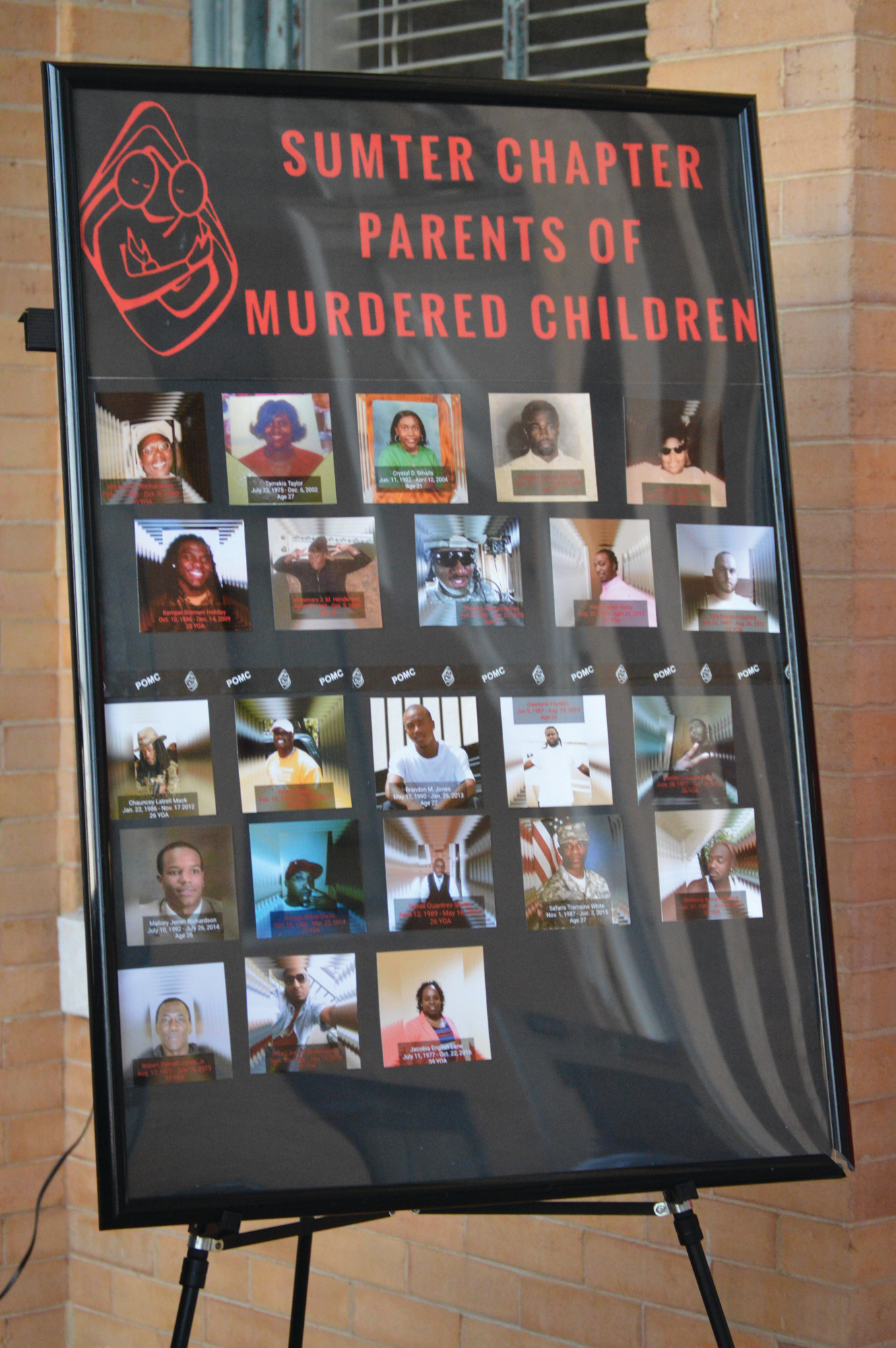 A wall of pictures was displayed during the 2017 A Day of Remembrance ceremony on Thursday. The photos showed the loved ones of members of Sumter Chapter Parents of Murdered Children who were killed. The wall started with 3 pictures and now includes 23.