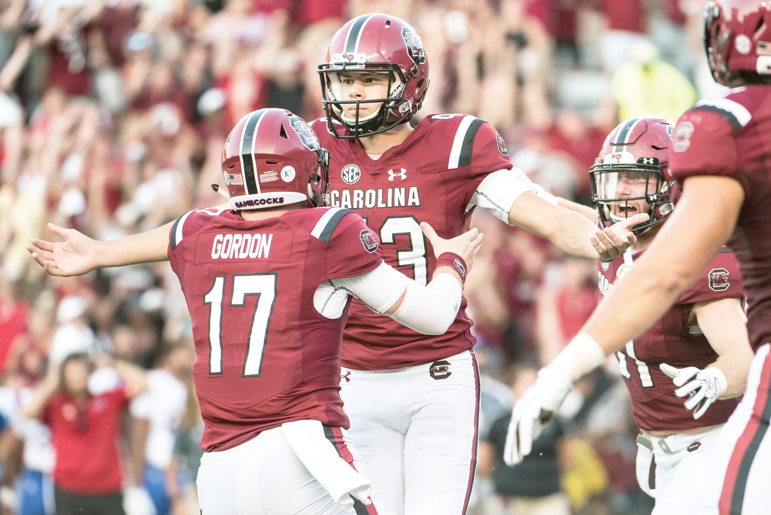 South Carolina kicker Parker White back celebrates a game-winning field goal against Louisiana Tech with teammate Danny Gordon during the Gamecocks 17-16 victory on Saturday at Williams Brice Stadium in Columbia