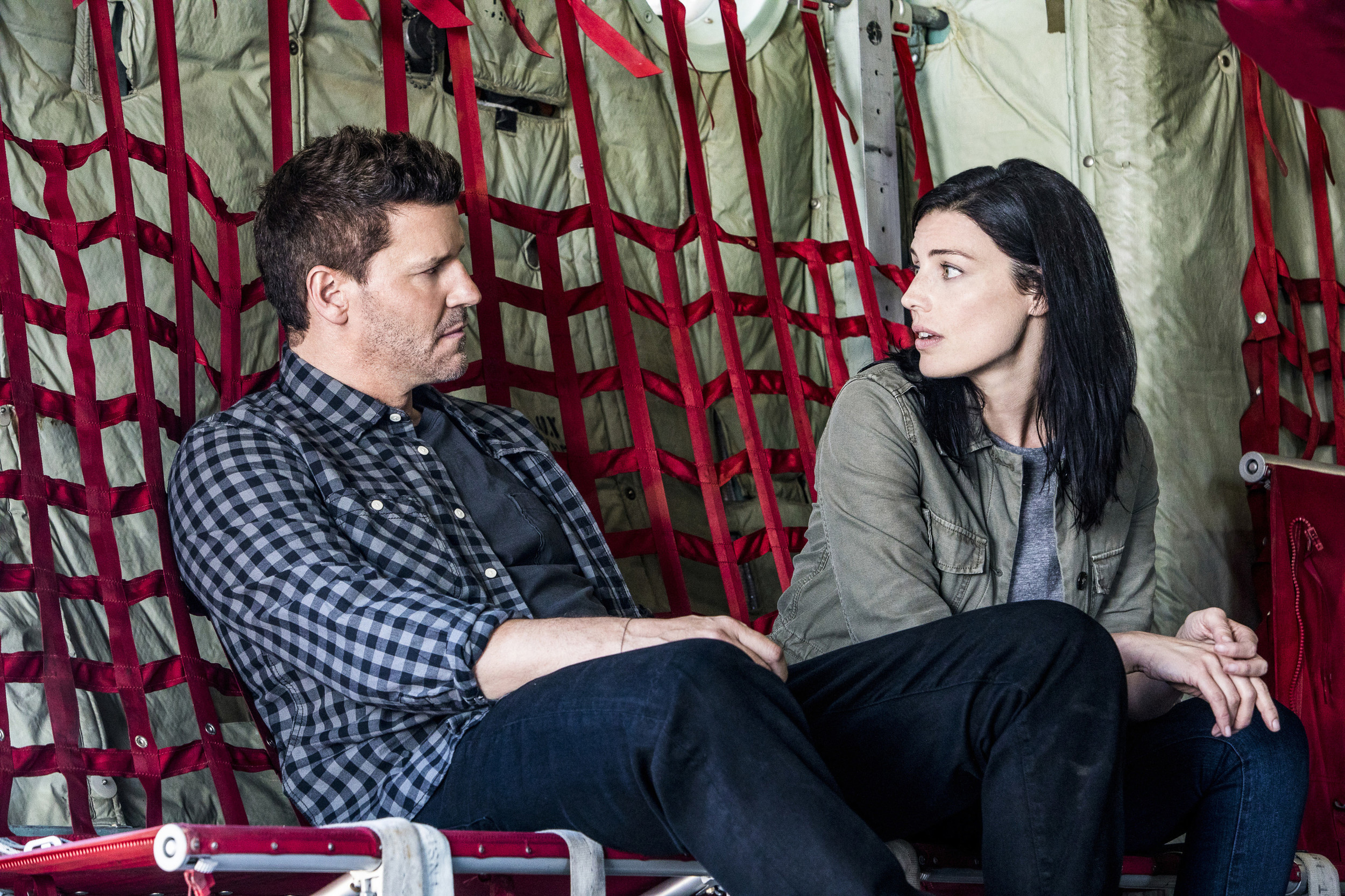 "David Boreanaz, left, stars as Jason Hayes and Jessica Pare as Mandy Ellis in ""SEAL Team,"" premiering at 9 p.m. today on CBS."