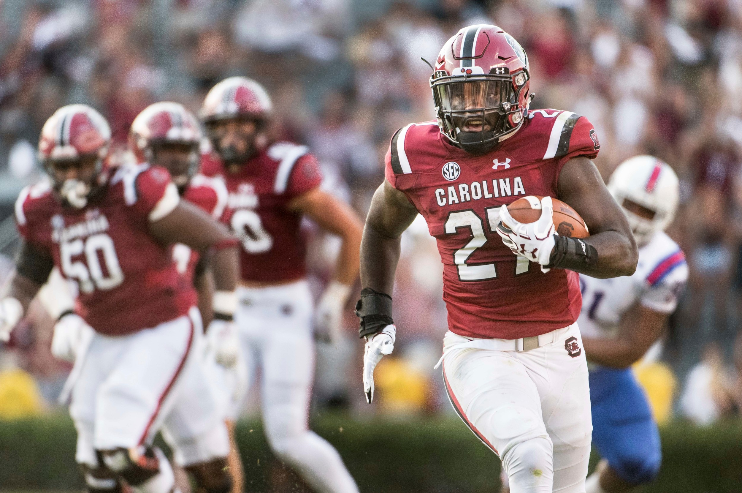 The Associated Press  South Carolina running back Ty'Son Williams (27) heads to the end zone on a 35-yard touchdown during the Gamecocks' 17-16 victory over Louisiana Tech on Saturday in Columbia. Williams rushed for 95 yards on 13 carries in his first collegiate start.  )