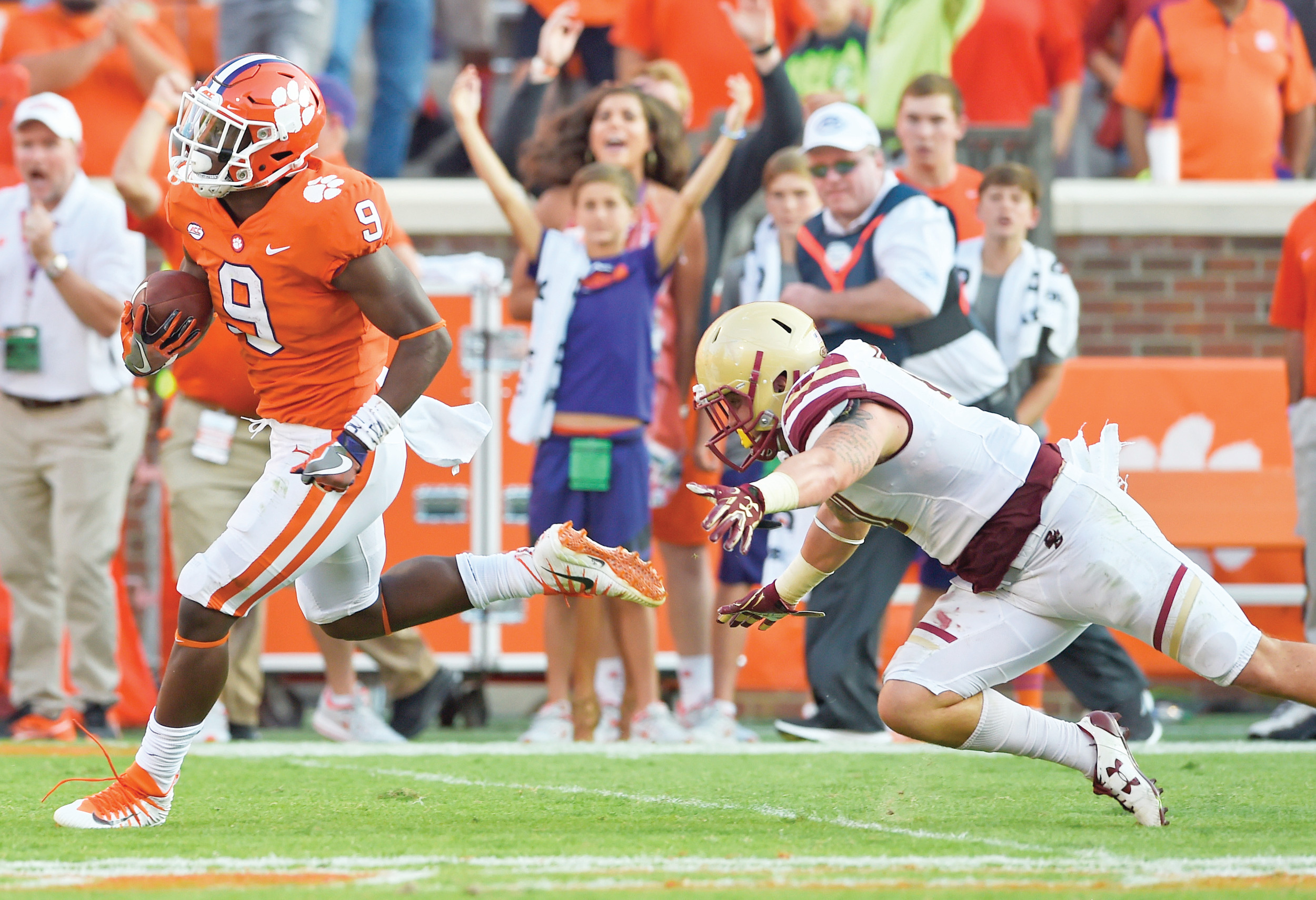 Clemson running back Travis Etienne (9) and the undefeated Tigers are now preparing for their next big test when they travel to 12th-ranked Virginia Tech on Saturday at 8 p.m.
