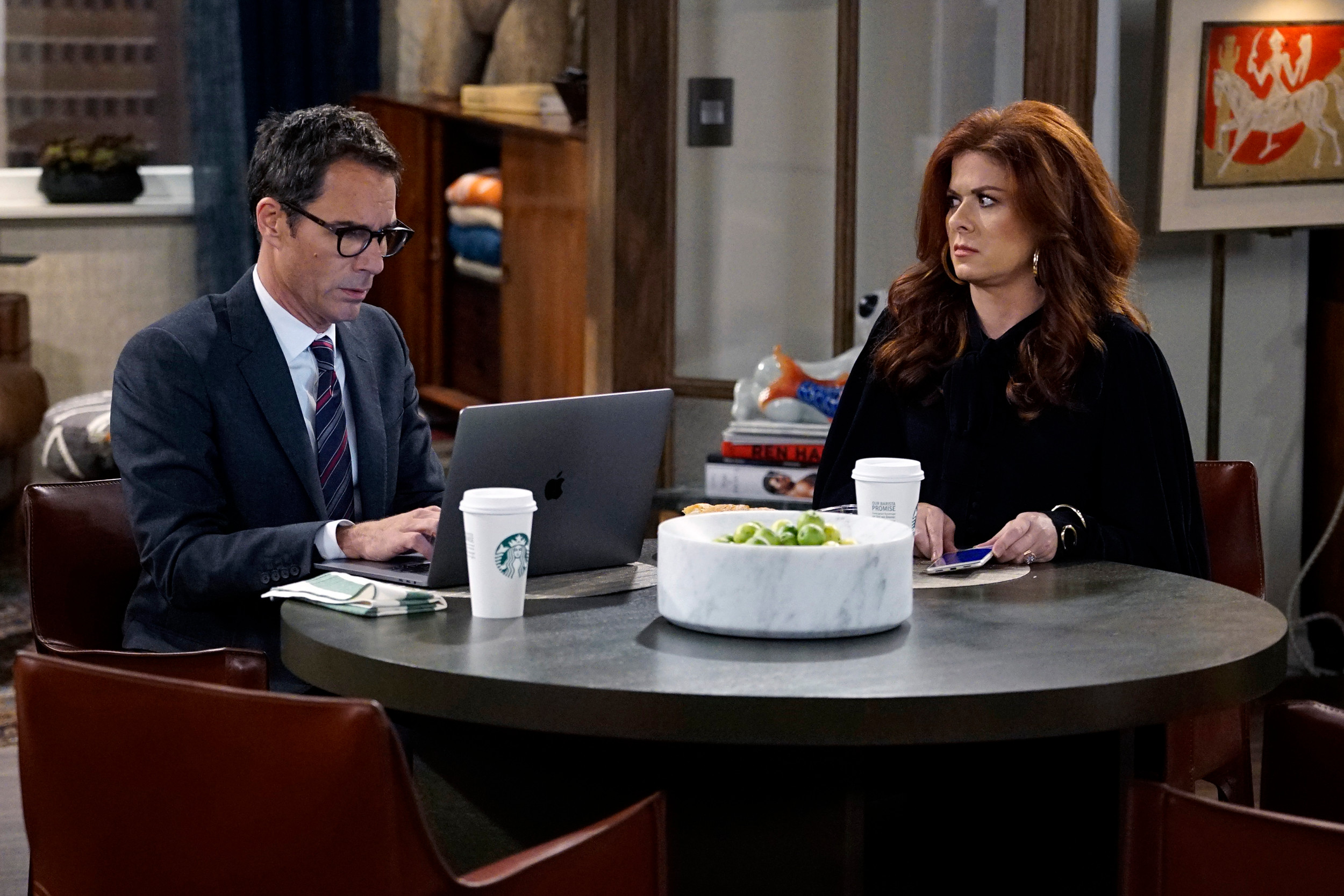 "Eric McCormack, left, stars as Will Truman and Debra Messing as Grace Adler in the reboot of ""Will & Grace,"" premiering at 9 p.m. today on NBC."