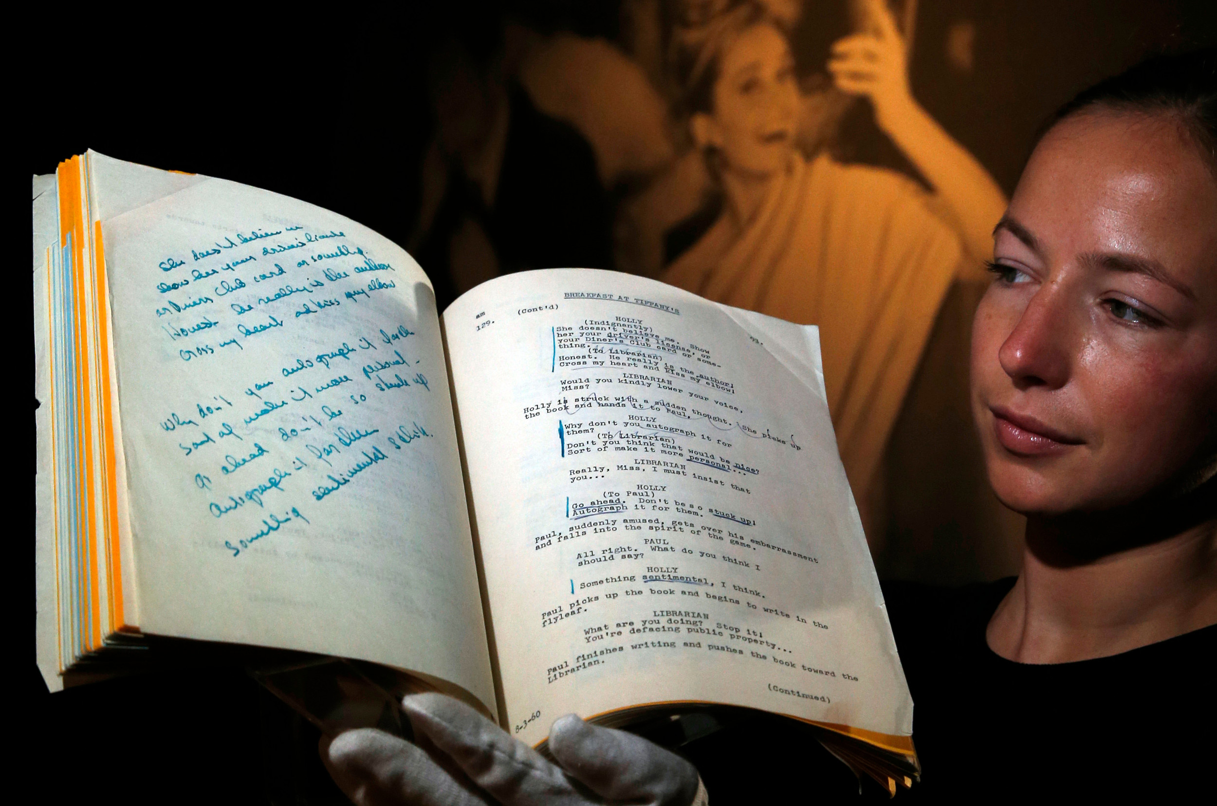 "Audrey Hepburn's personal shooting script for the film ""Breakfast at Tiffany's"" sold for 632,750 pounds ($846,619) at Christie's auction house."