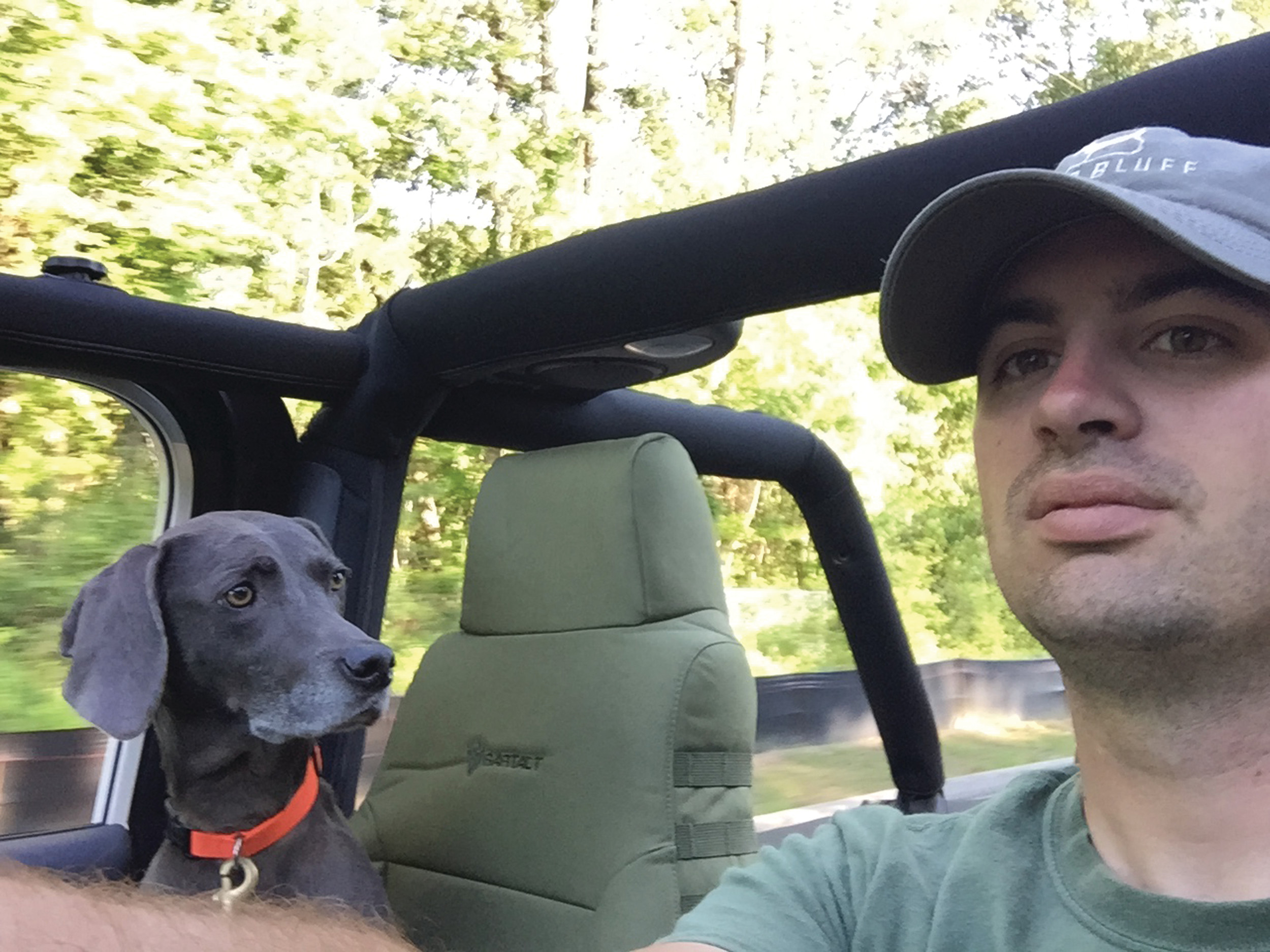 Daisy is always ready to take a ride in Will Cabell's Jeep.