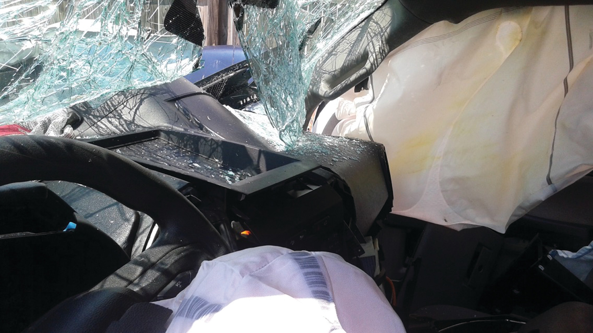 An interior shot of the truck Daisy and Will Cabell were riding in when it was forced off the road near Alcolu.