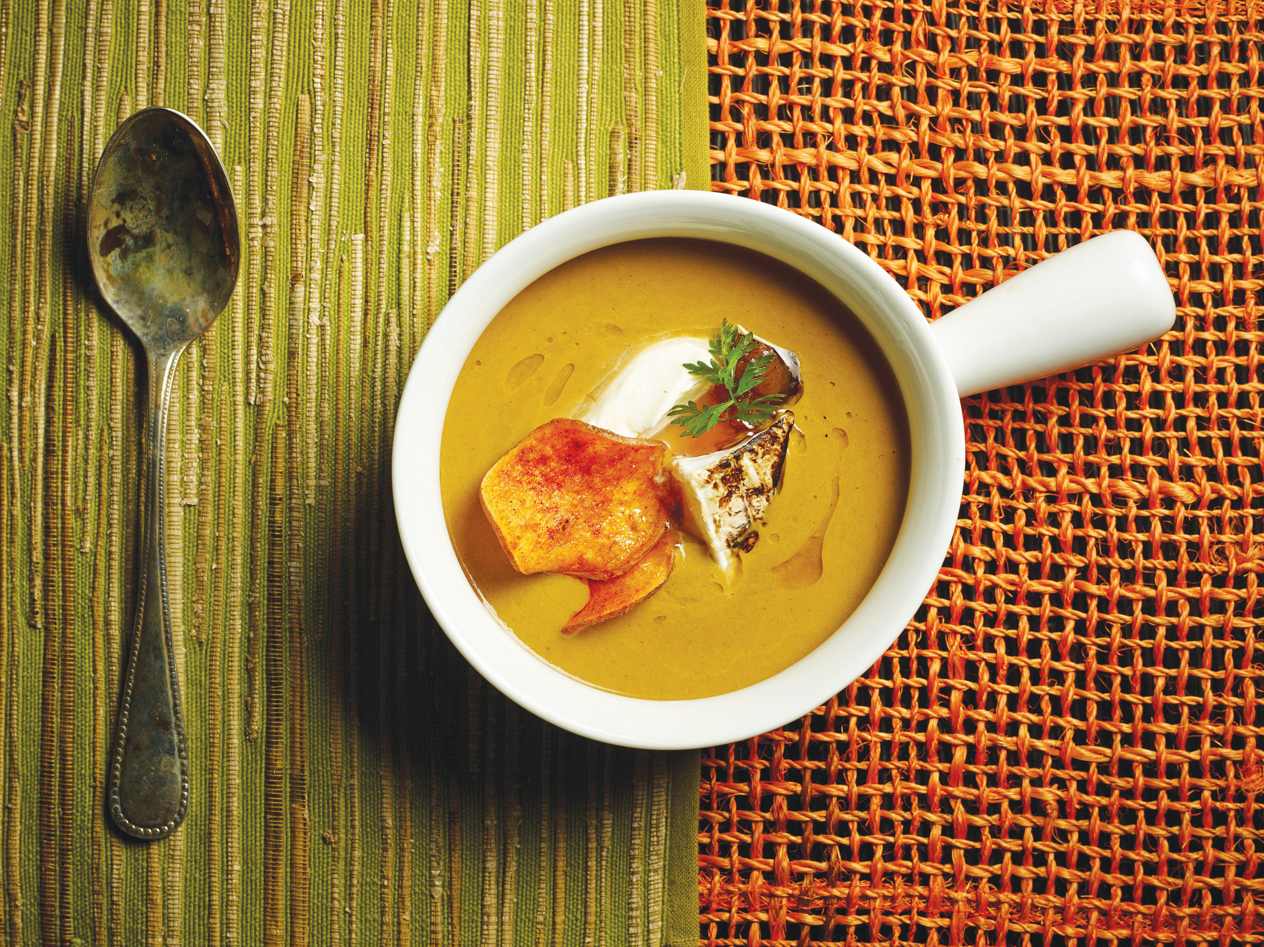 This autumn sweet   potato and mushroom soup dish is from a recipe by the Culinary Institute   of American.