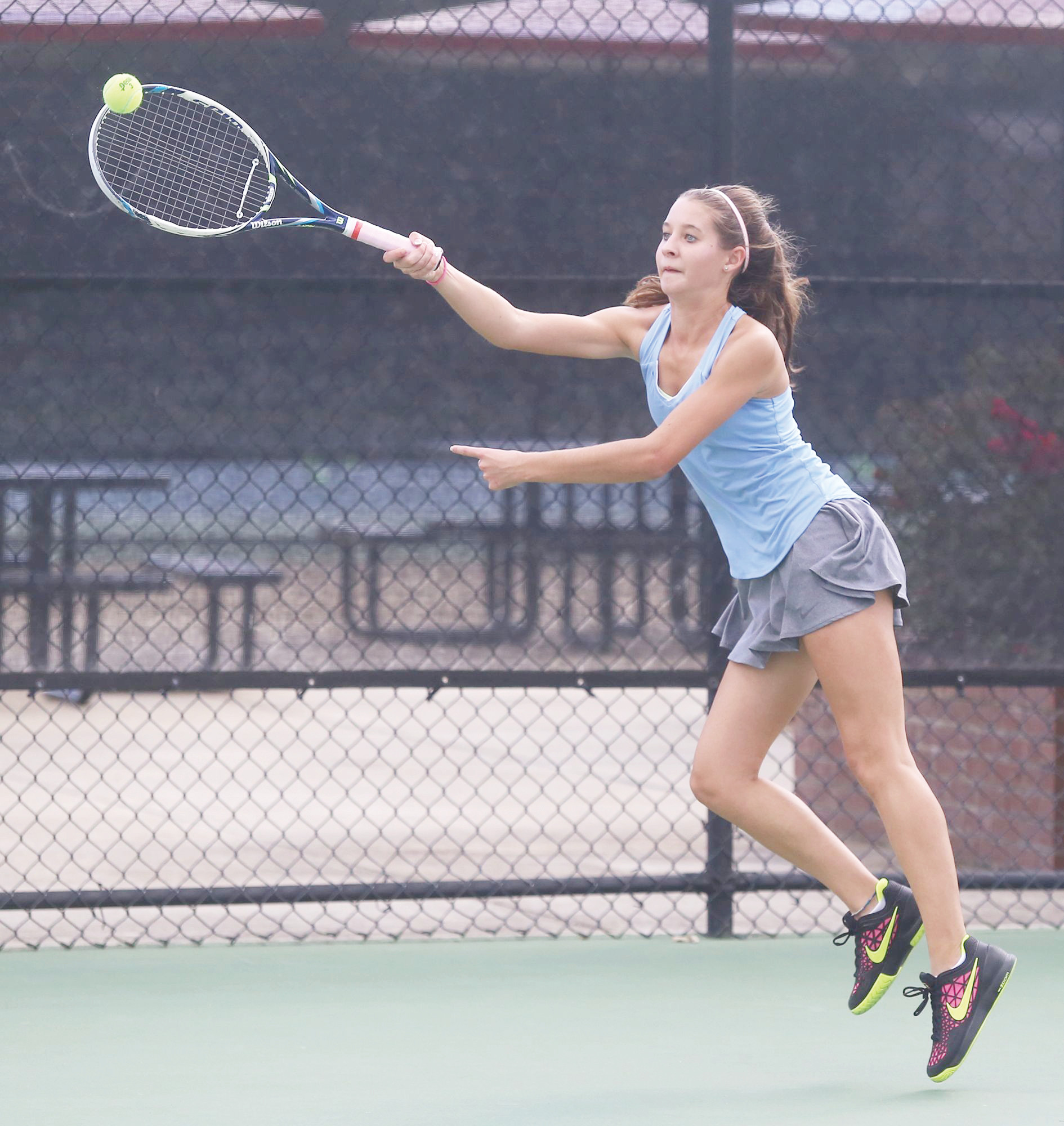 Wilson Hall No. 3 singles player Emily Anne Beasley is one of five returners for a Lady Barons team that will bring a lot of experience and possibly and undefeated record into the SCISA 3A state playoffs.