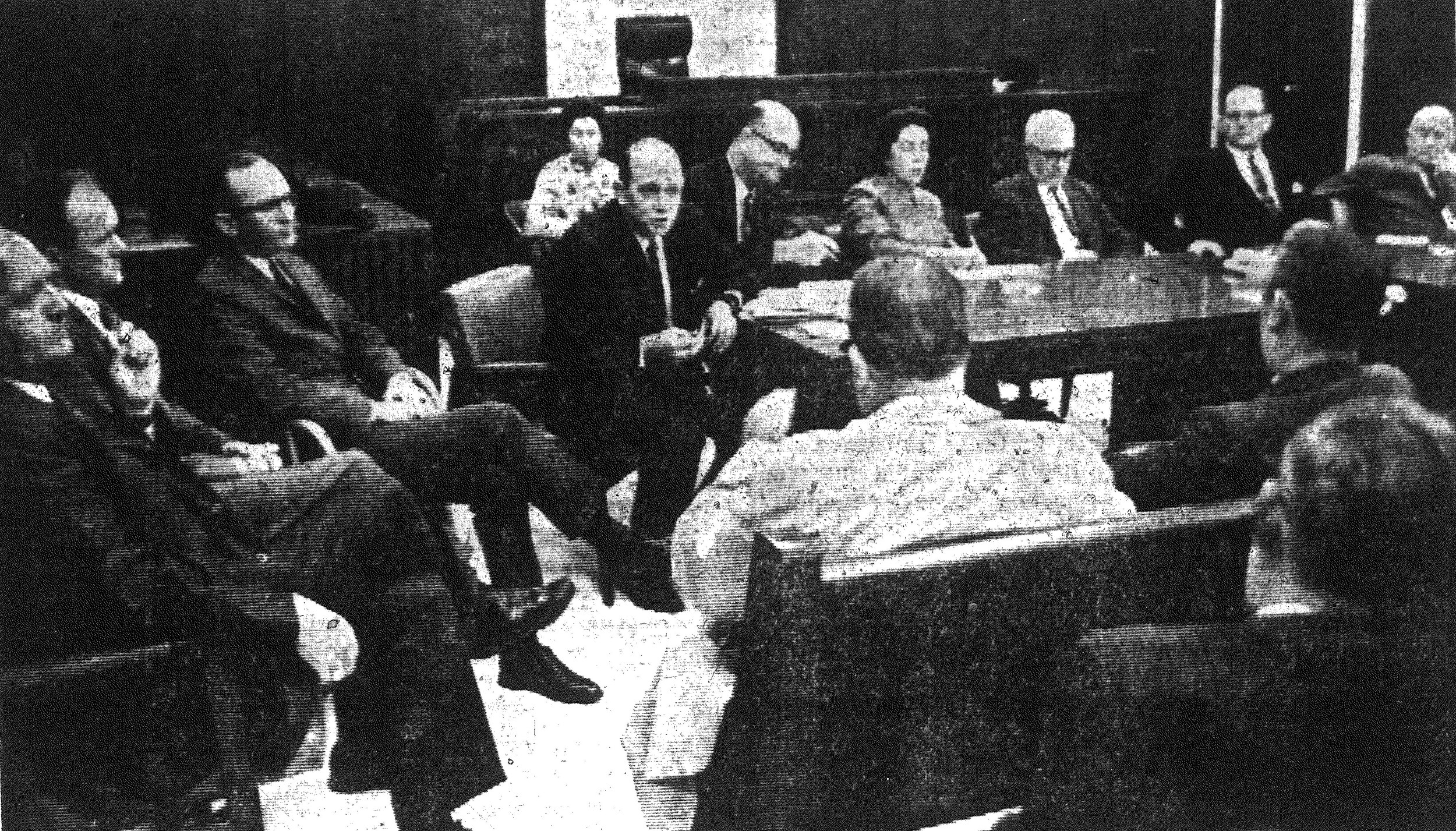 "From 1968 - Sen. Henry B. Richardson, center, discusses the offer of annexation made to a portion of South Sumter recently with an interested resident who attended a public hearing in the Sumter County Courthouse. The meeting, which is held annually to promote participation in local governmental affairs, was described by most of the city and county officials as ""successful"" and was acclaimed by residents who attended the meeting as ""very informative."""