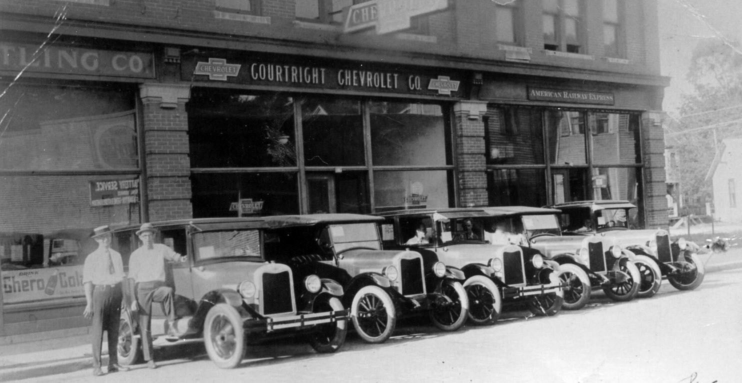 This photo of Courtright Chevrolet, located on Caldwell Street, was taken in 1925 after one salesman had just sold five new cars.