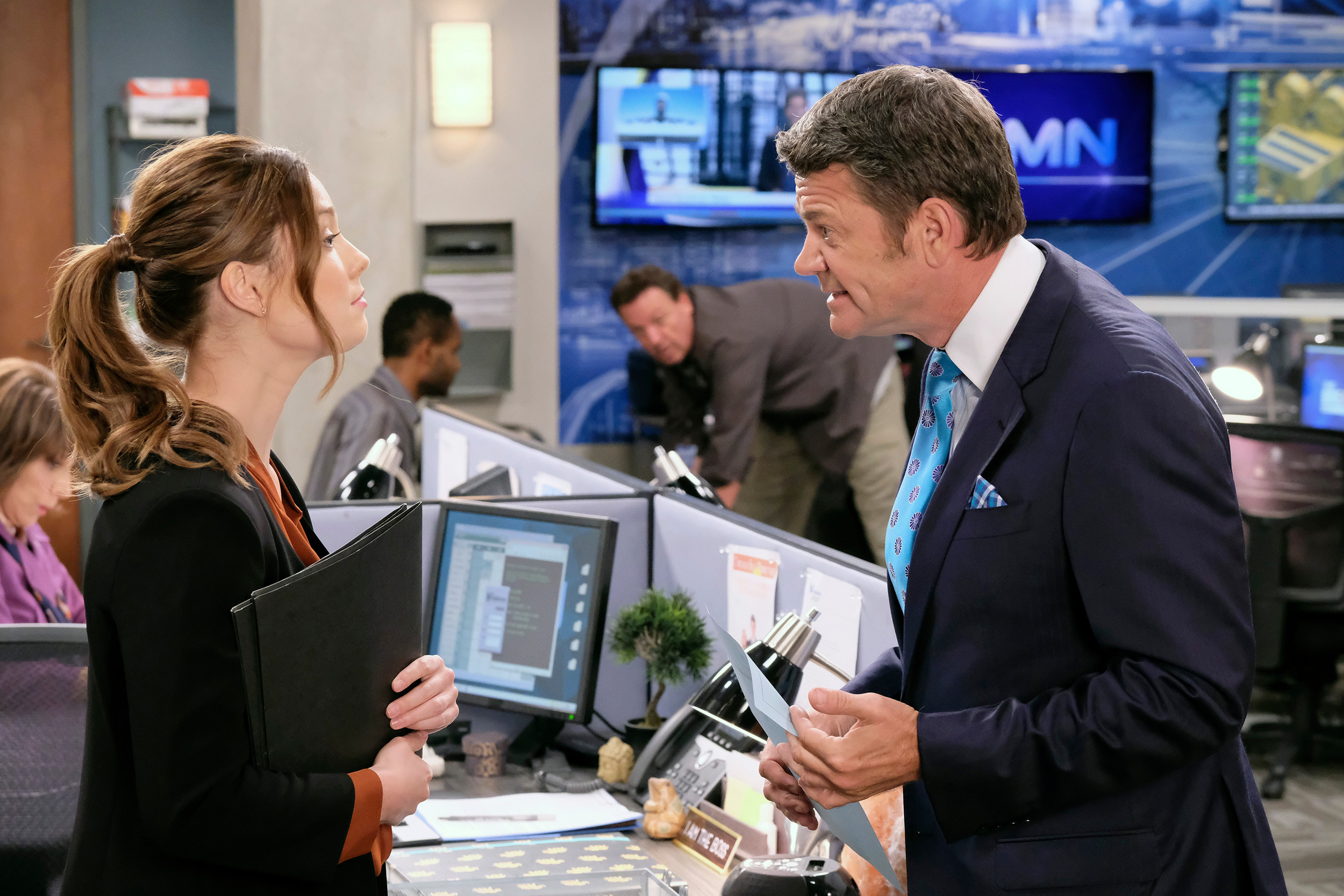 "Briga Heelan, left, stars as Katie and John Michael Higgins as Chuck in the ""Squad Feud"" episode of ""Great News,"" airing at 9:30 p.m. today on NBC."
