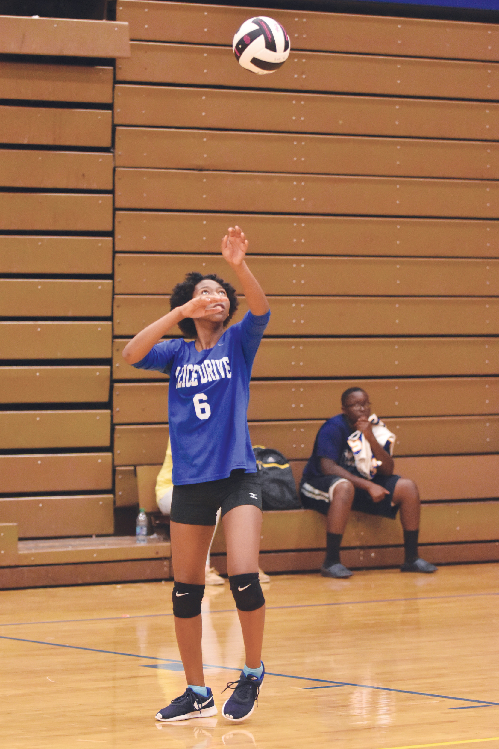 Alice Drive Middle School''s Zentrina Choice lofts the ball to serve during the Hawks' victory over Hillcrest Middle School on Wednesday in the Sumter Middle Schools volleyball tournament at Sumter High School.