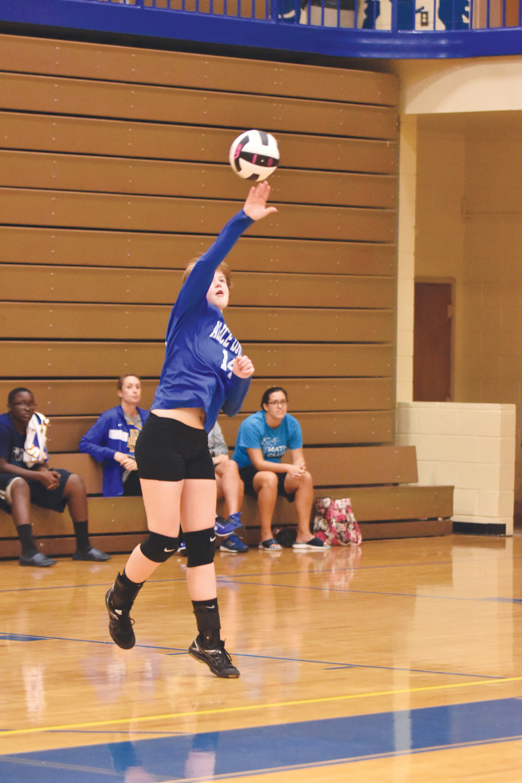 Alice Drive Middle School's Molly McMahon serves during the Hawks' victory over Hillcrest Middle School on Wednesday in the Sumter Middle Schools volleyball tournament at Sumter High School.