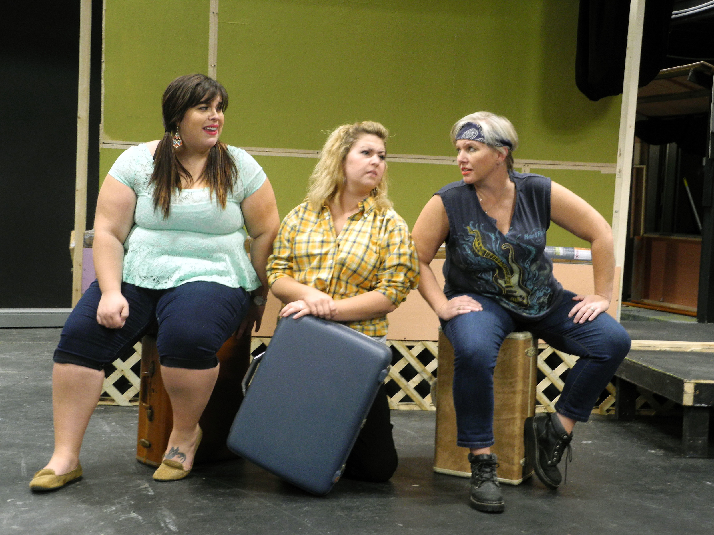 "From left, residents of Armadillo Acres, Pickles, Betty and Lin, serve as a sort of ""Greek chorus,"" moving the story along. Played by Ariel Wilkie, Rachael Horne and D.D. Martin, the trio knows all the secrets of the trailer park's other residents."