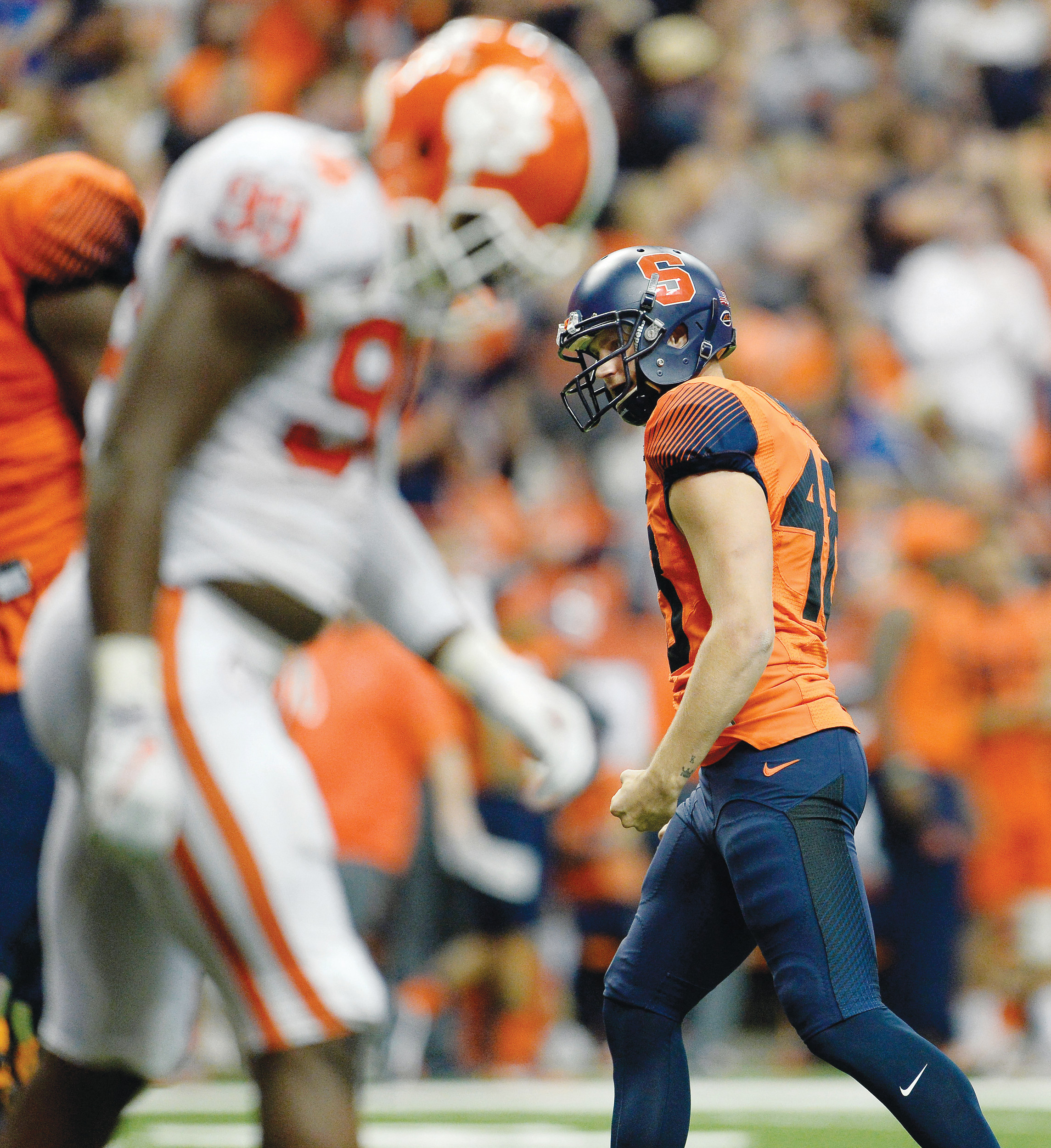 Syracuse placekicker Cole Murphy (48) reacts to his go-ahead field goal during the second half of Syracuse's 27-24 upset victory over  No. 2 Clemson on Friday in Syracuse, N.Y.