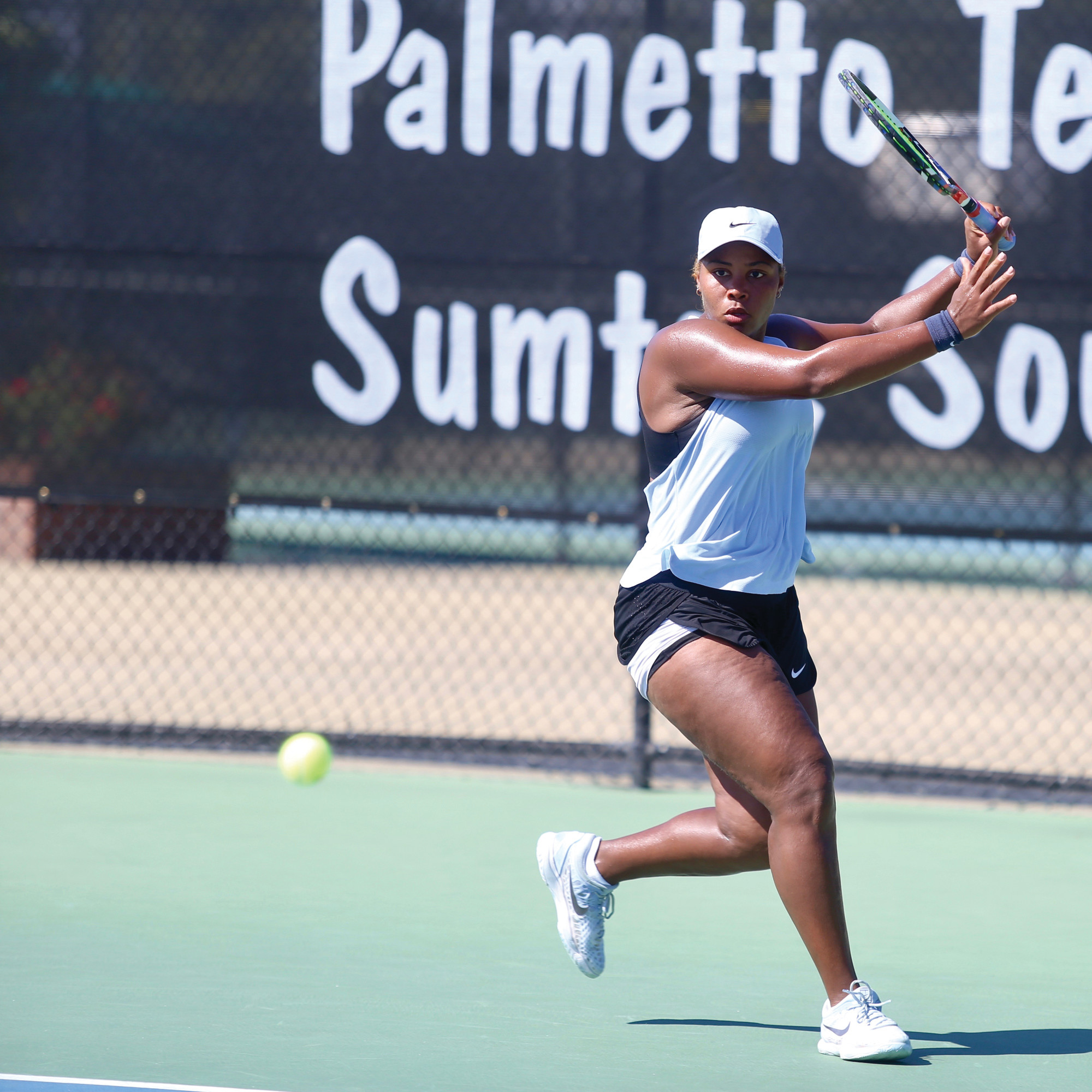 BY TREVOR BAUKNIGHT / THE SUMTER ITEMTaylor Townsend prepares to return a shot during her 6-2, 6-1 victory over Ulrikke Eikeri in the singles championship match of the Sumter Pink Open on Sunday at Palmetto Tennis Center. Townsend was also a part of the winning doubles team.