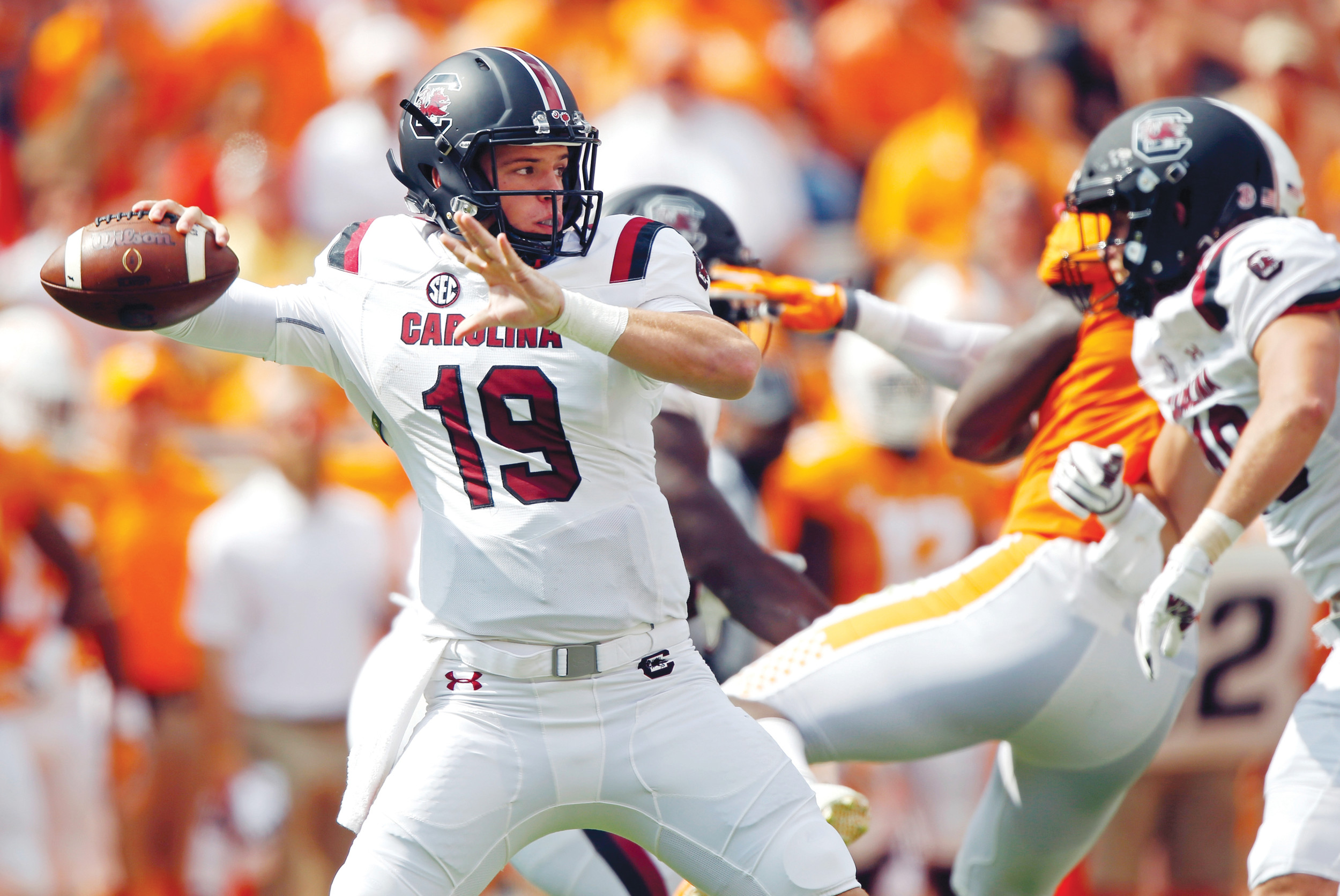 South Carolina quarterback Jake Bentley (19) throws a pass in the first half of the Gamecocks' 15-9 victory over Tennessee in Knoxville, Tennessee. South Carolina figured to be a work in progress in coach Will Muschamp's second season. But headed into their break, the Gamecocks are among the Southeastern Conference's biggest surprises at 5-2 and have their sights set on even bigger things the rest of the way.  (AP Photo/Wade Payne, File)