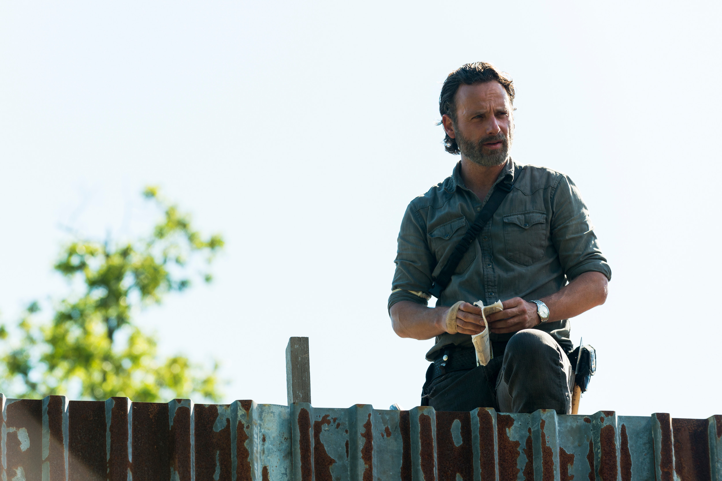 "Andrew Lincoln stars as Rick Grimes in the season eight premiere episode of ""The Walking Dead,"" airing at 9 p.m. Sunday on AMC."
