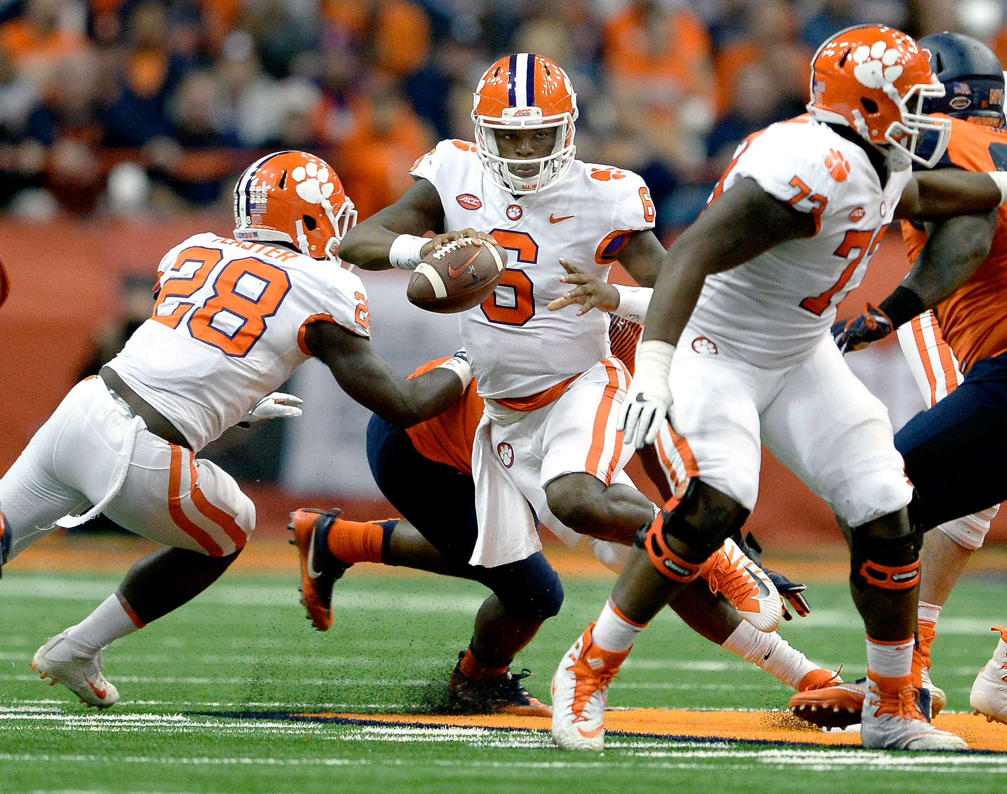 The Associated PressClemson quarterback Zedrick Cooper (6) is chased out of the pocket during the Tigers' 27-24 loss to Syracuse on Oct. 14. He came in after starter Kelly Bryant had to leave due to a concussion. Bryant is expected to start for Clemson on Saturday against Georgia Tech.
