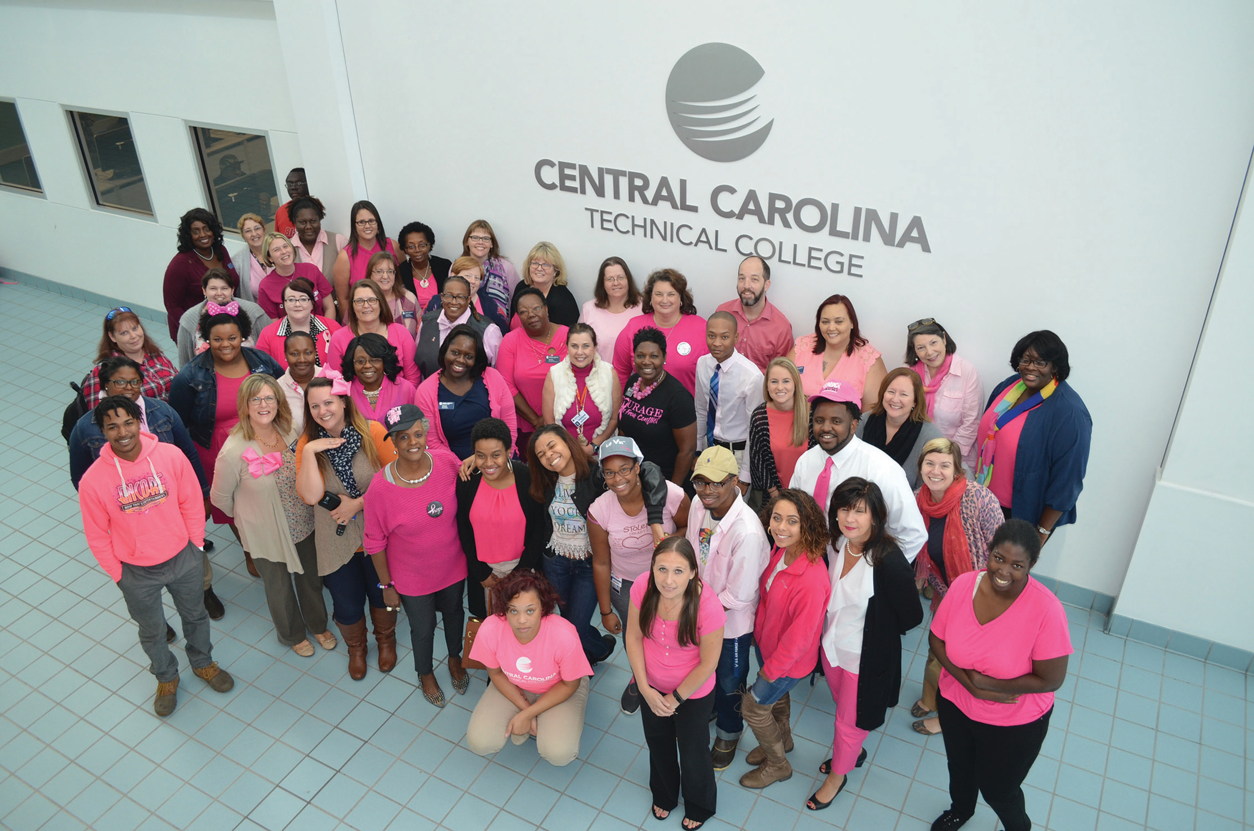 Central Carolina Technical College students, faculty and staff wore pink to support Breast Cancer Awareness Month at their annual Pink Out Day.