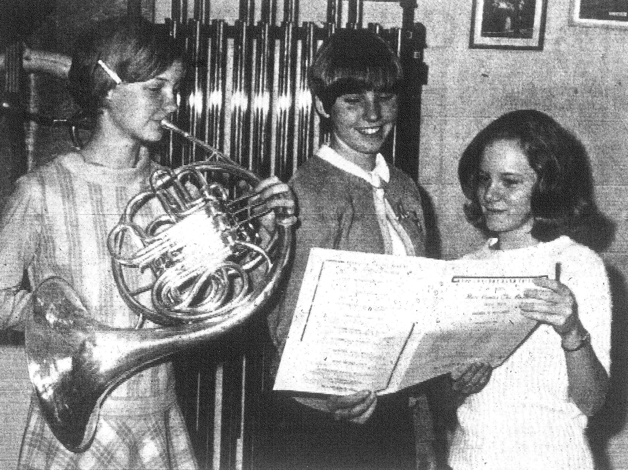1968 - Cindy Dion practices with her band instrument as Martha Craft and Anne Hinson hold the music for her. All three girls, including Fran Wells, who is not in the photo, are members of the Manning High School Band. They were selected recently by auditions to participate in the current All-State Band. George Olin is the director of music at Manning High.