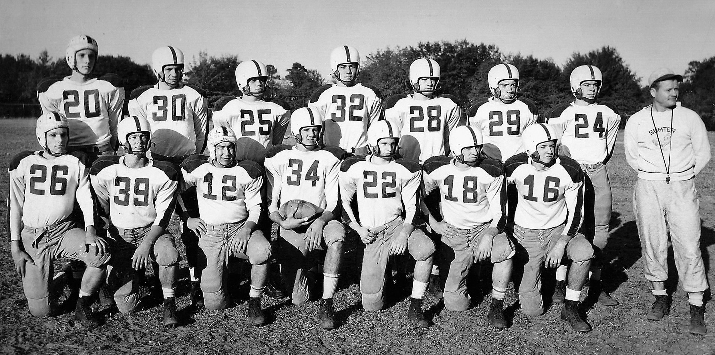 The senior players of the 1949-50 Sumter High School football team are seen in this group photo. Top row, from left are: Hugh Humphries, Marion Cain, Laverne Hill, Mac Dabbs, Welly Bradham, Russell Sutton, Dale Garrison and Coach Hutch Hutchinson. Bottom row, from left are: Wilson Parham, Frank Moses, Billy Timmons, Robert Brunson, Joe Parish, Homer Morris and Perry Biddle.