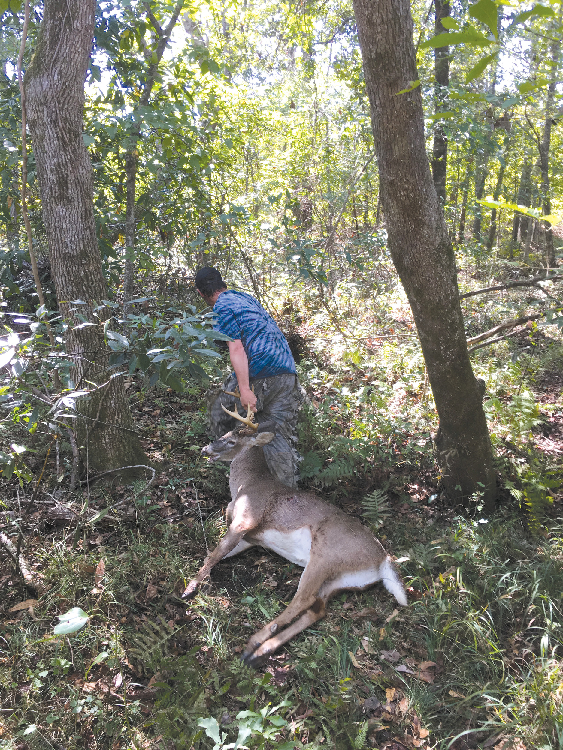 Clayton Geddings takes a turn pulling his 9-point buck out of the woods.