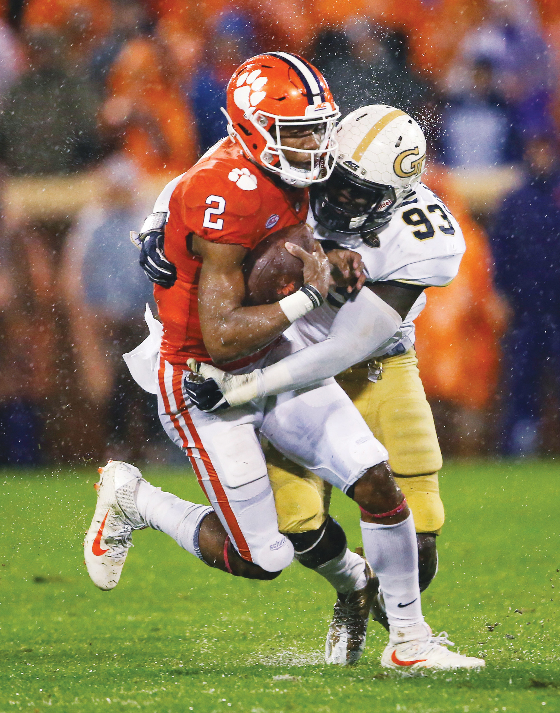THE ASSOCIATED PRESS Clemson quarterback Kelly Bryant (2) is stopped by Georgia Tech defensive lineman Antonio Simmons (93) in the first half of an NCAA college football game Saturday, Oct. 28, 2017, in Clemson, S.C. (AP Photo/John Bazemore)