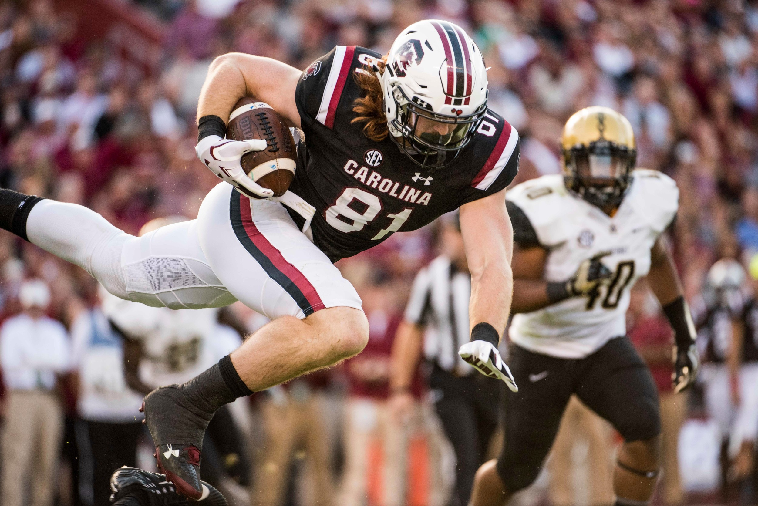 The Associated PressSouth Carolina tight end Hayden Hurst (81) and the rest of the Gamecocks became bowl eligible after their 34-27 victory over Vanderbilt on Saturday at Williams-Brice Stadium in Columbia.