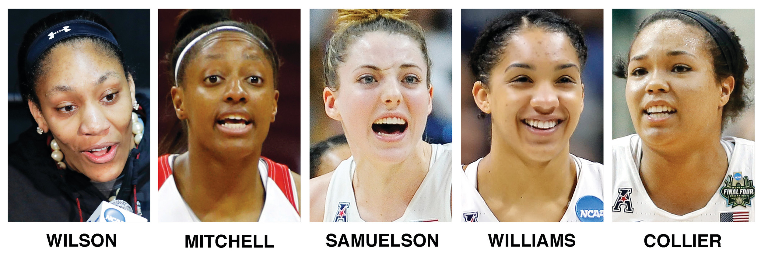 These undated file photos show The Associated Press preseason All-America women's NCAA college basketball team. They are, from left, A'ja Wilson, from South Carolina; Kelsey Mitchell, from Ohio State; Katie Lou Samuelson, of UConn; Gabby Williams, of UConn and Napheesa Collier, UConn.